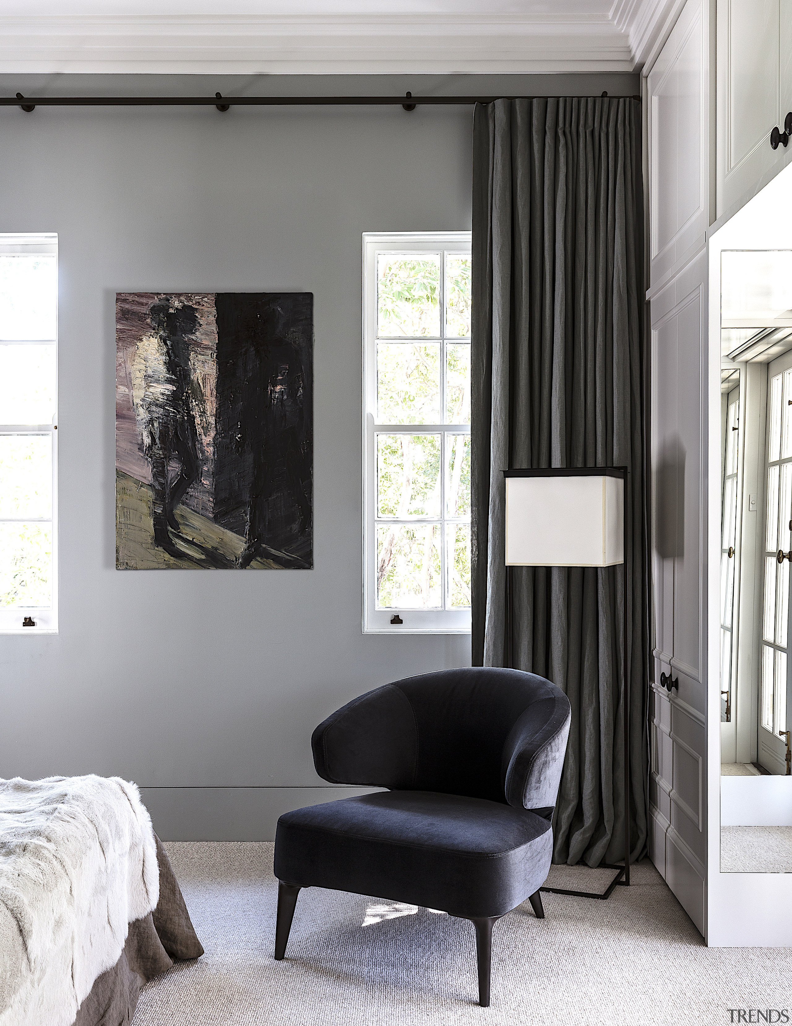 The reinvented master bedroom in the heritage cottage. white, gray