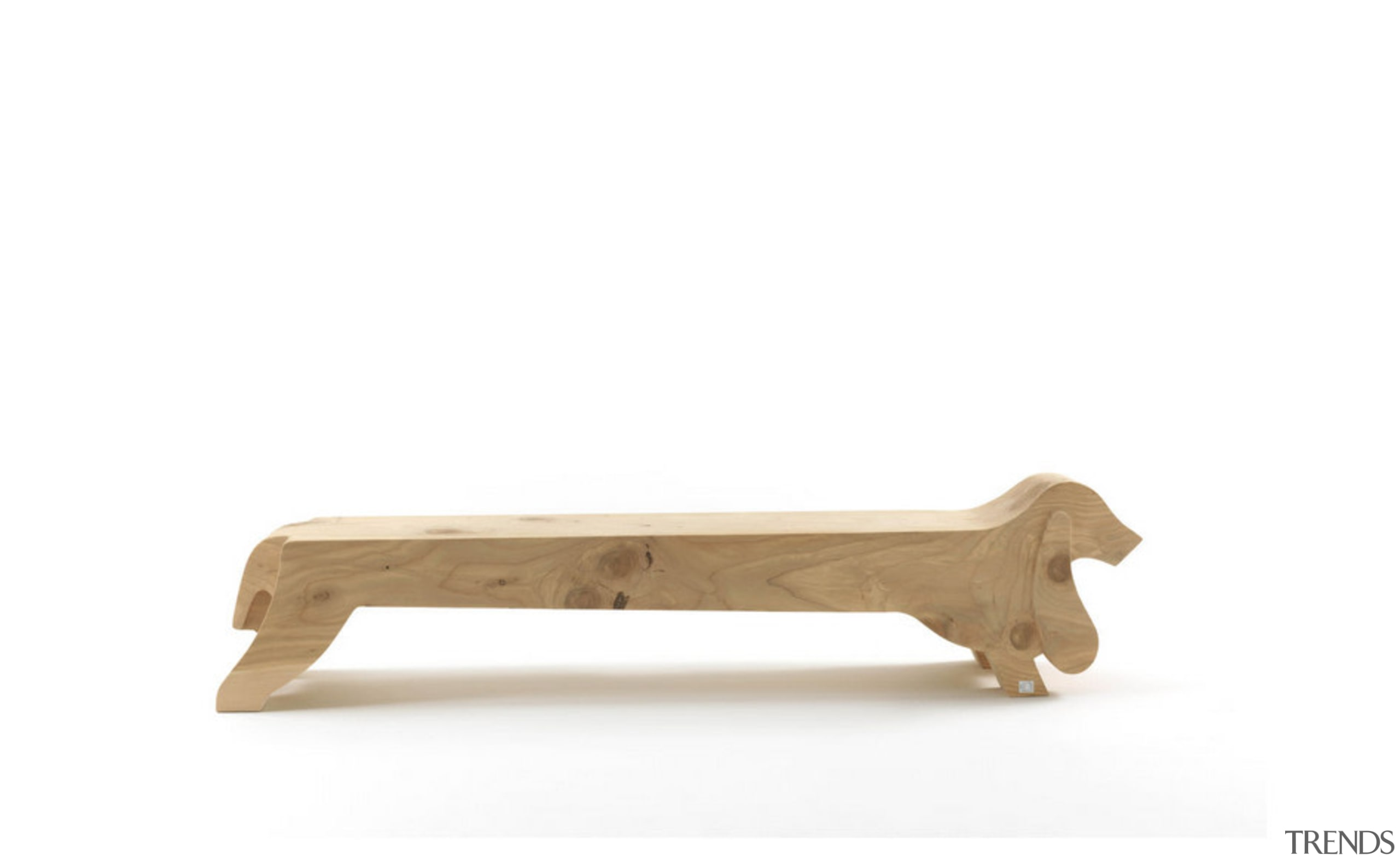 If this bench looks a little bit canine dog like mammal, furniture, outdoor furniture, table, wood, white