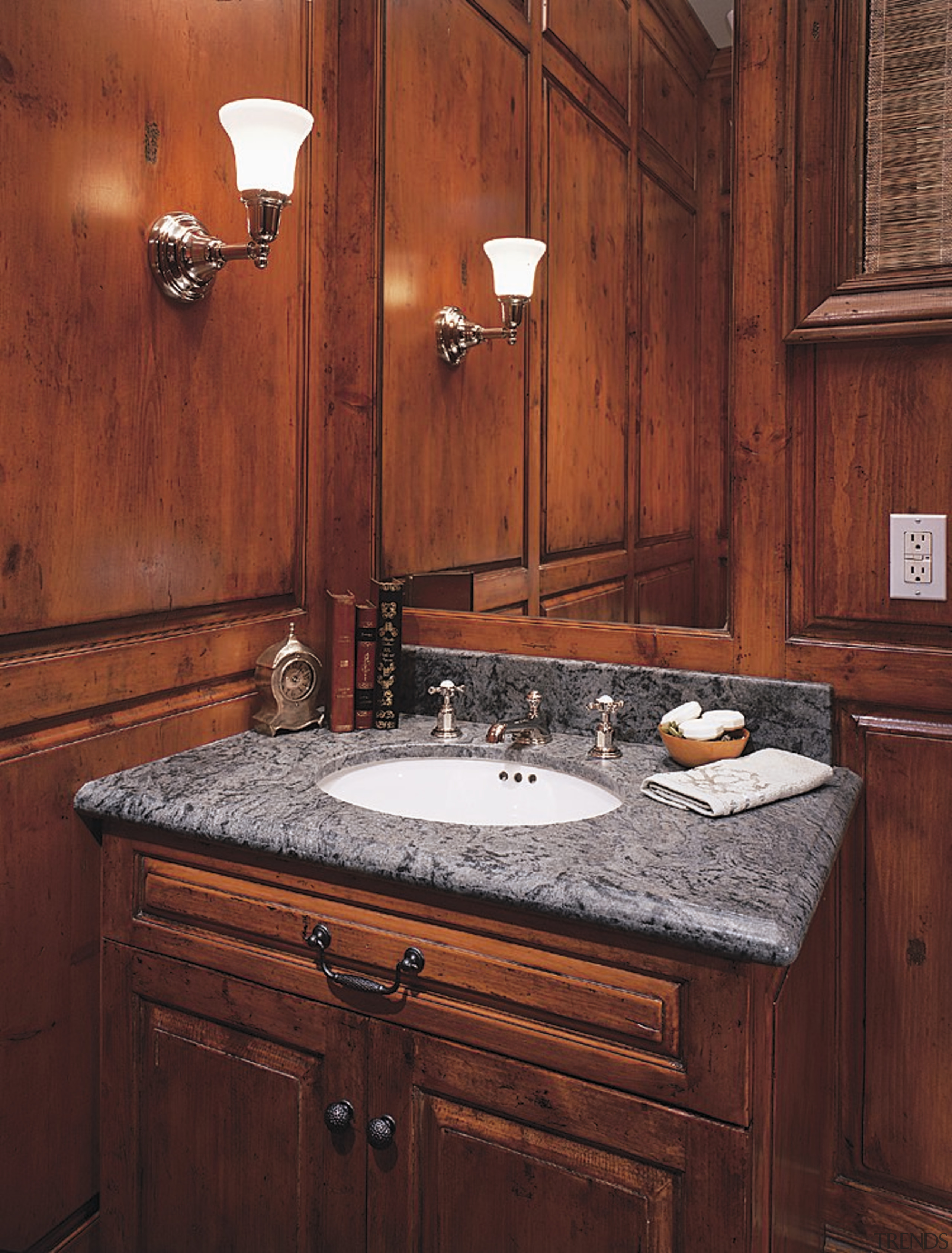 Close view of the hand basin - Close bathroom, bathroom cabinet, cabinetry, countertop, home, interior design, kitchen, room, sink, wood stain, red