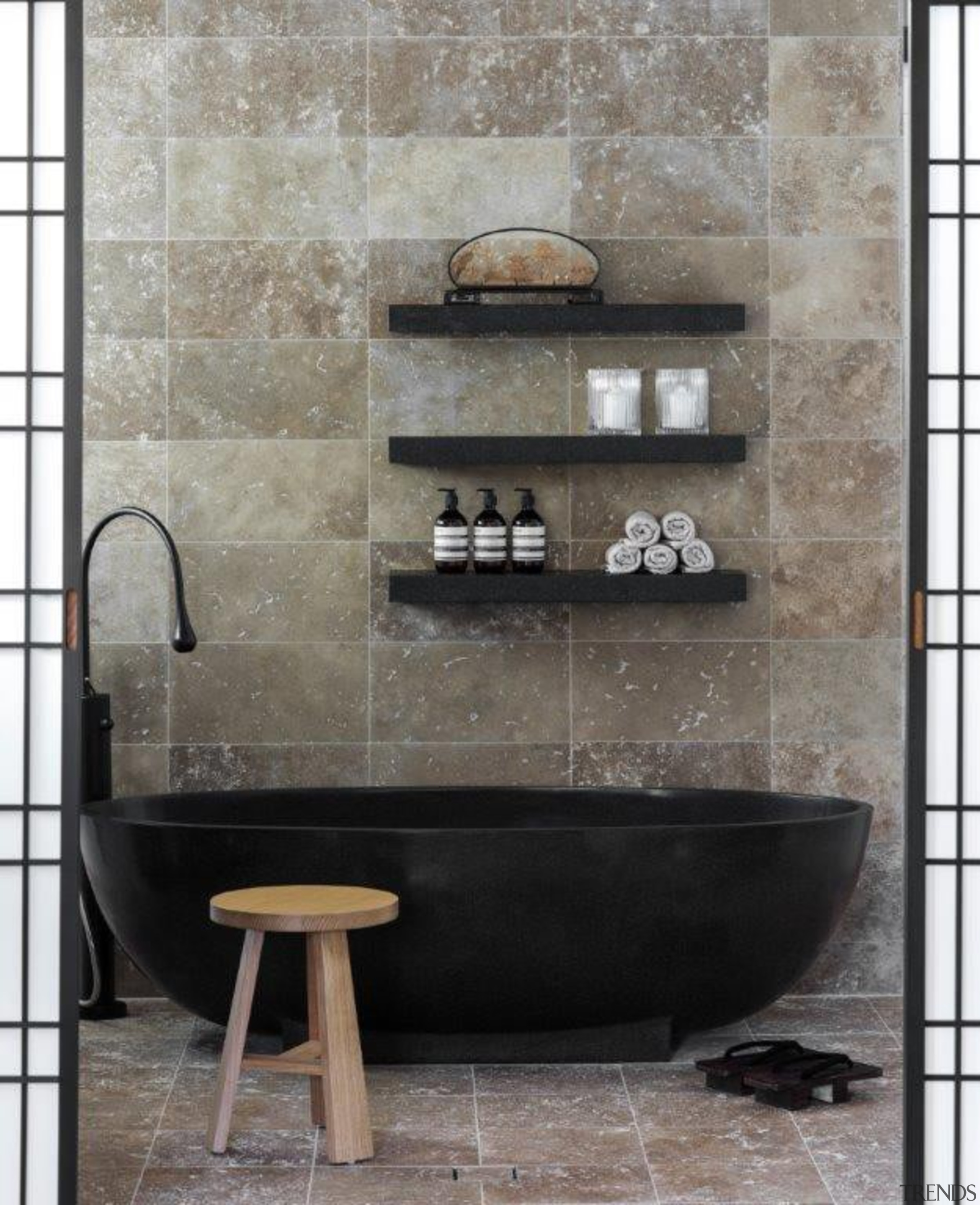 If you seek a perfect bathing experience, where bathroom, ceramic, floor, flooring, interior design, plumbing fixture, sink, tap, tile, wall, gray, black
