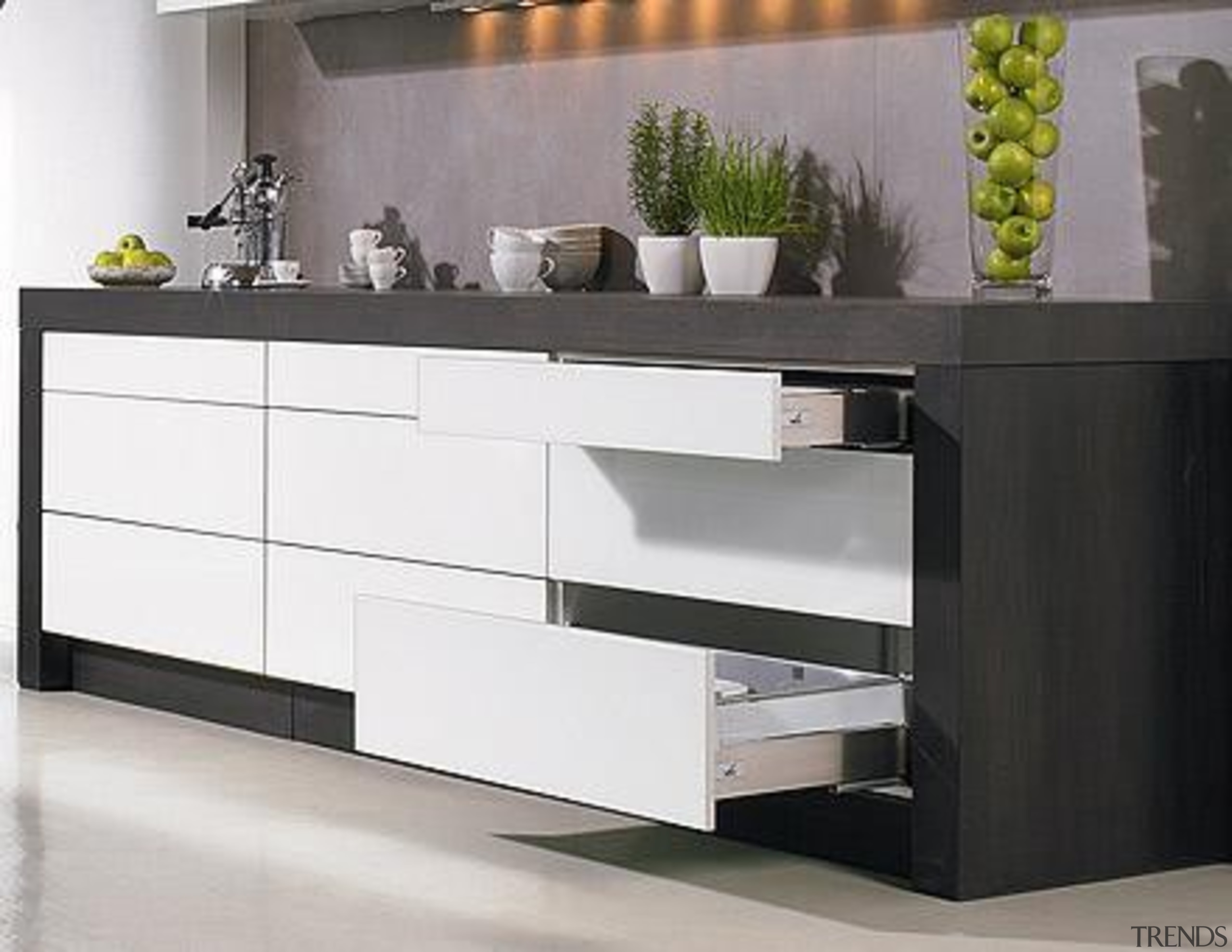 Easys is ideal for creating purist, handle-free design chest of drawers, drawer, furniture, kitchen, product, product design, sideboard, white, black