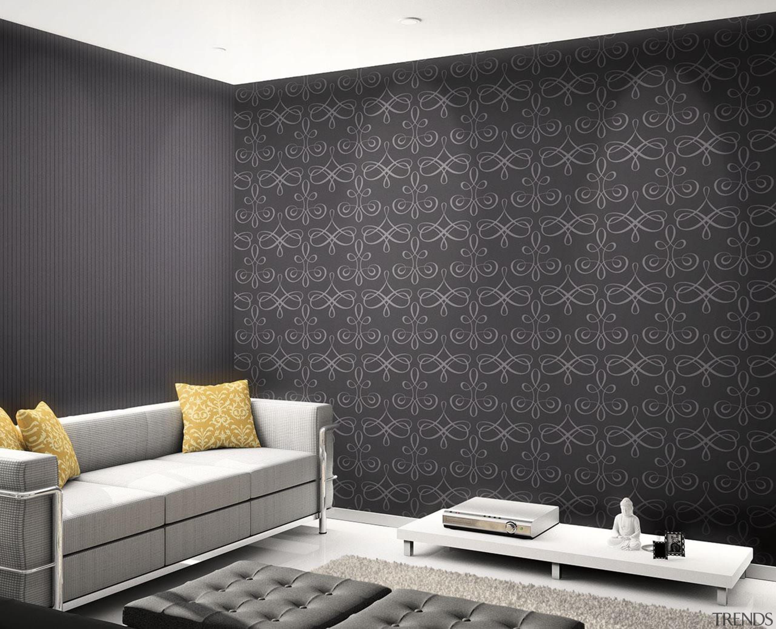 Aurora Range - Aurora Range - ceiling   ceiling, floor, interior design, living room, wall, wallpaper, window covering, black, gray