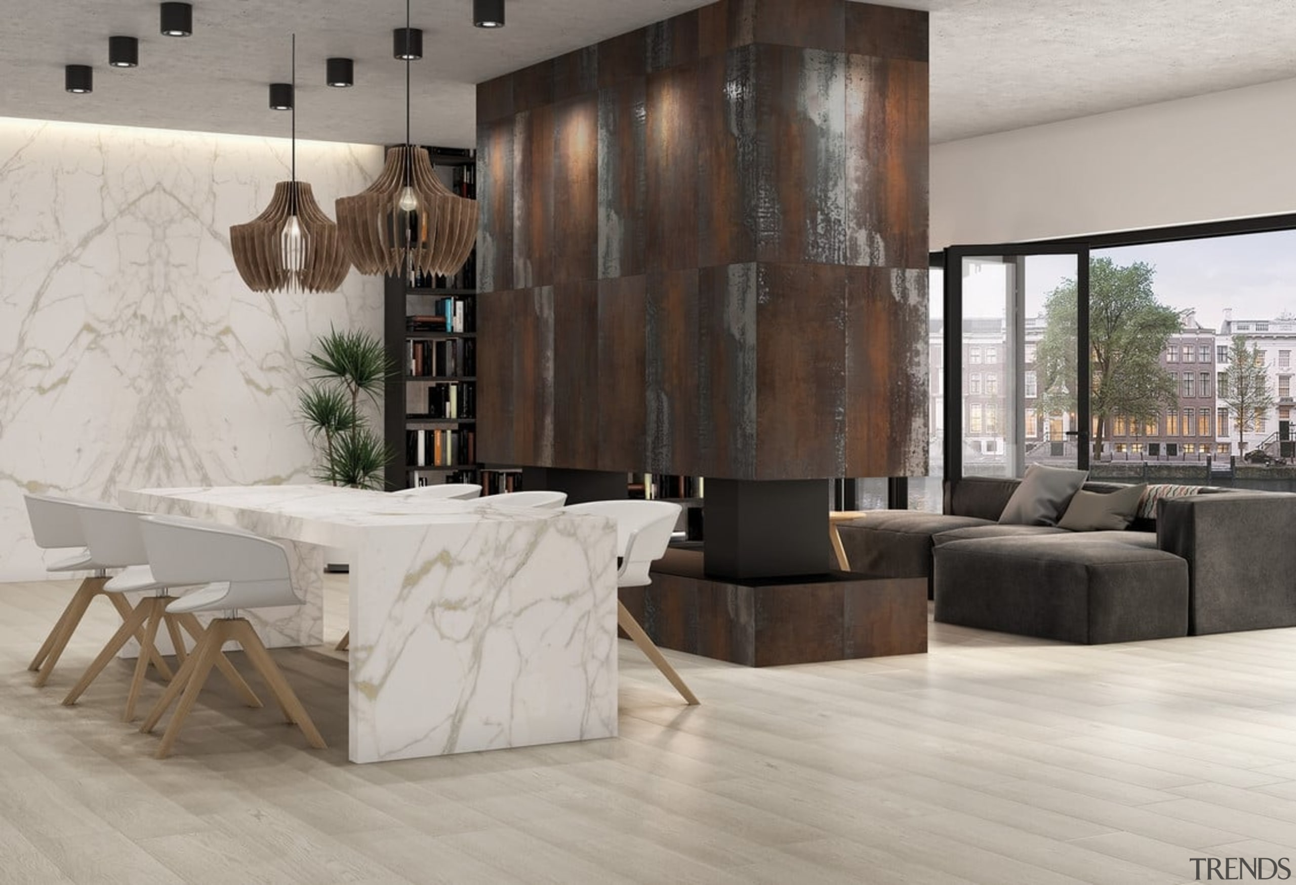 Universal Granite And Marbles Showroom - floor | floor, flooring, furniture, interior design, laminate flooring, living room, table, tile, wall, wood, wood flooring, gray