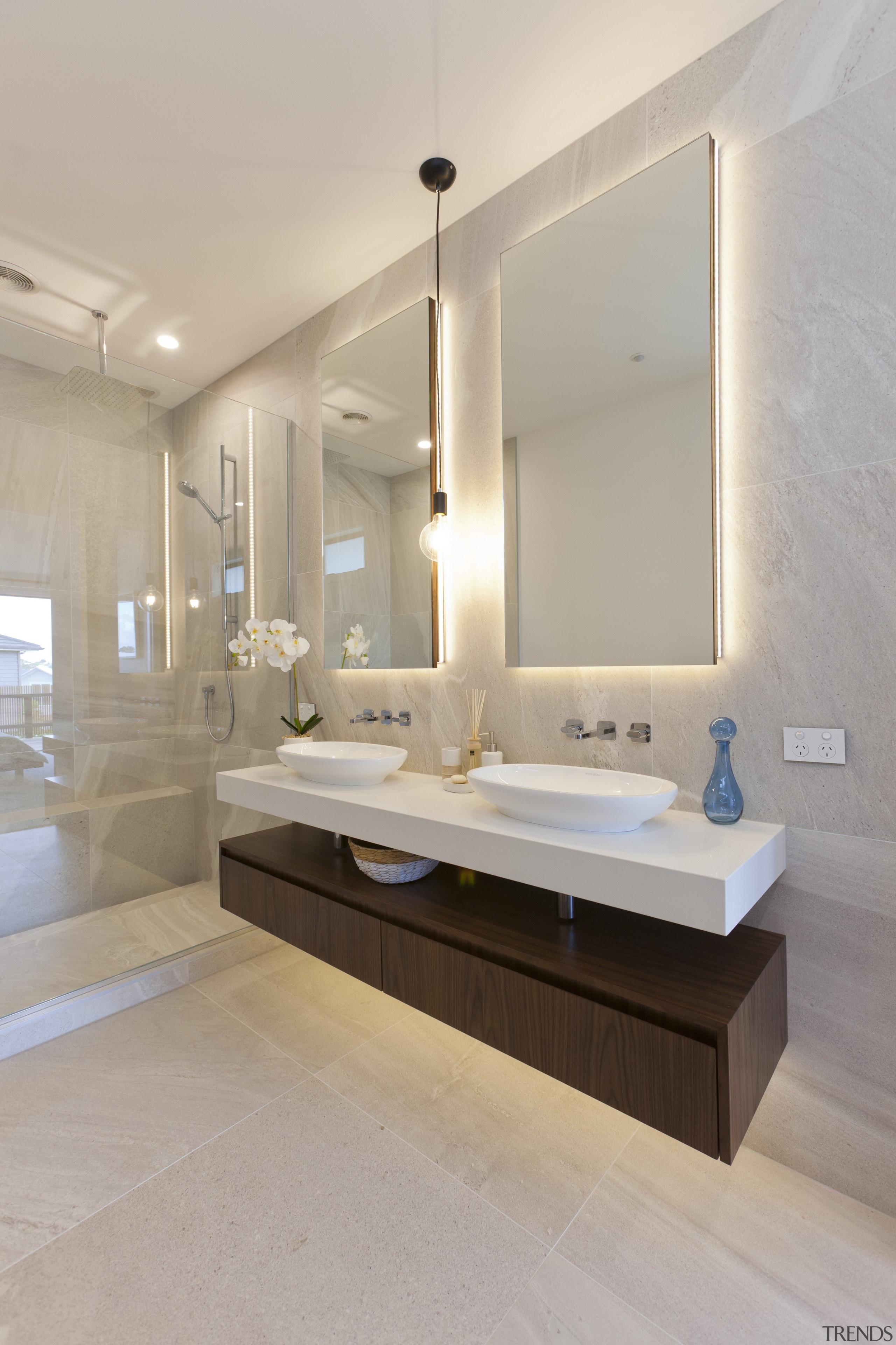 Landmark Homes Design & Build Showhome Bathroom bathroom, floor, home, interior design, plumbing fixture, room, sink, gray