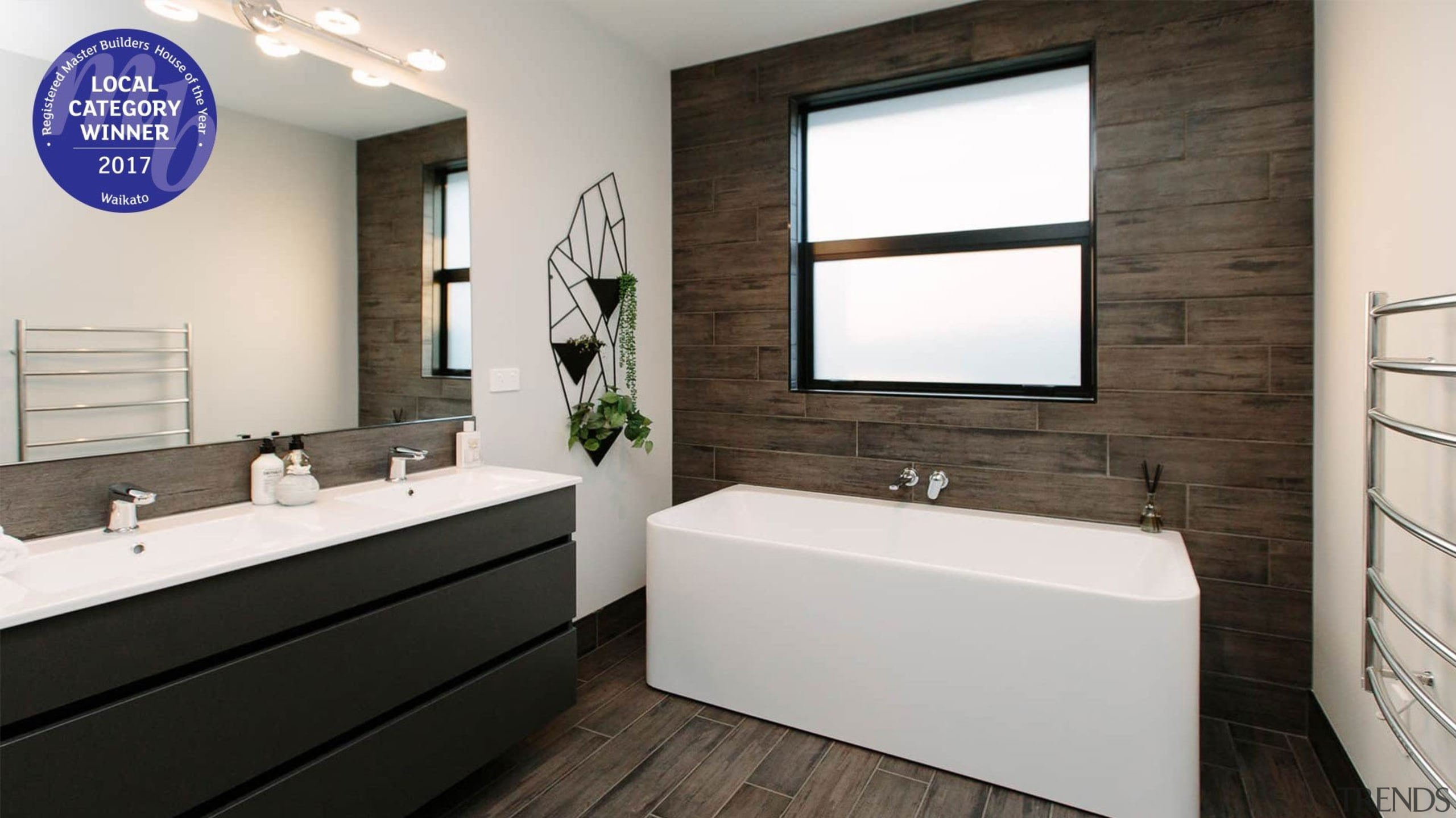 Beautifully tiled bathroom with a touch of greenery bathroom, home, interior design, room, white, black