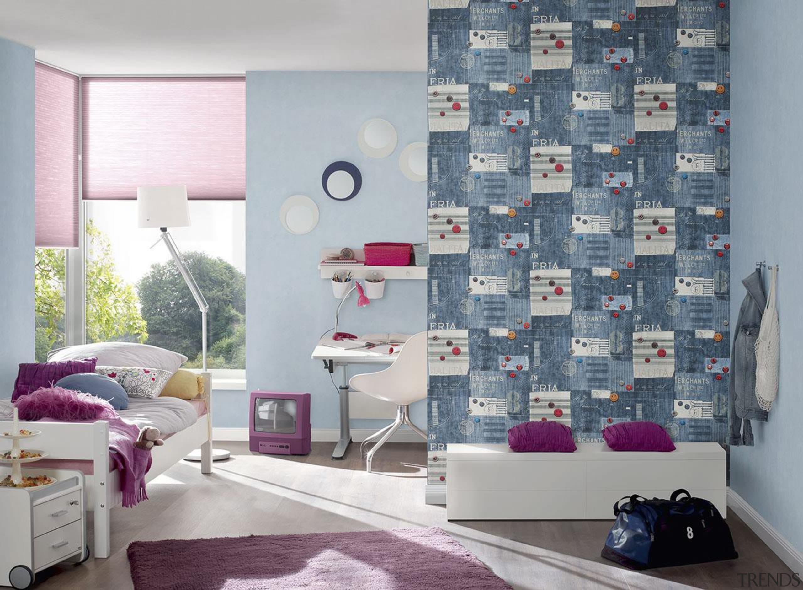 The new Boys and Girls Collection is a bed sheet, curtain, floor, home, interior design, living room, purple, room, textile, wall, wallpaper, window, window covering, window treatment, gray
