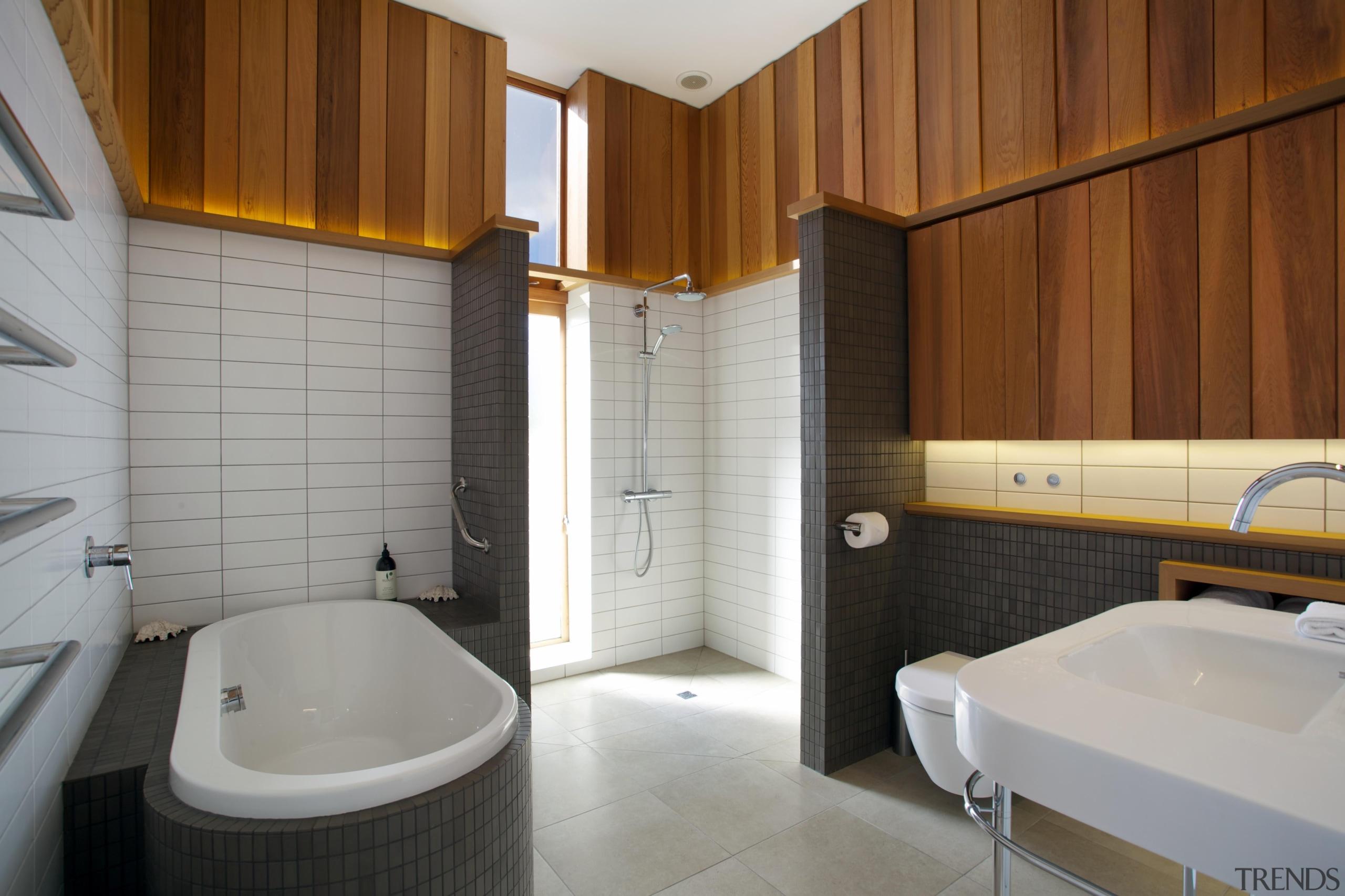 Fraser Cameron Architects –Winner - 2015 Trends International architecture, bathroom, floor, interior design, property, real estate, room, tile, gray, brown