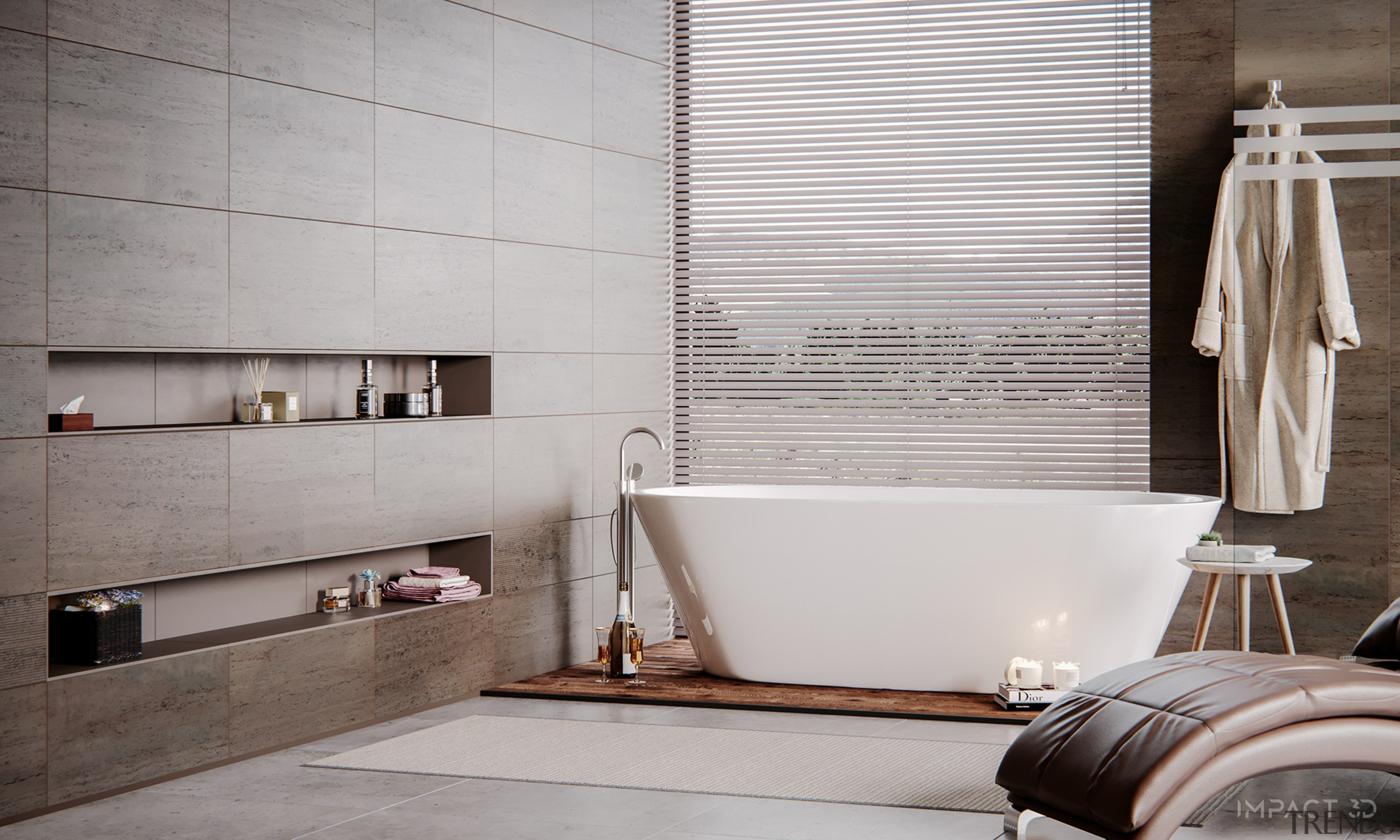 4 Clever Ways to Curate a Luxury Bathroom bathroom, beige, building, ceiling, ceramic, floor, flooring, furniture, home, house, interior design, material property, plumbing fixture, room, tile, wall, gray