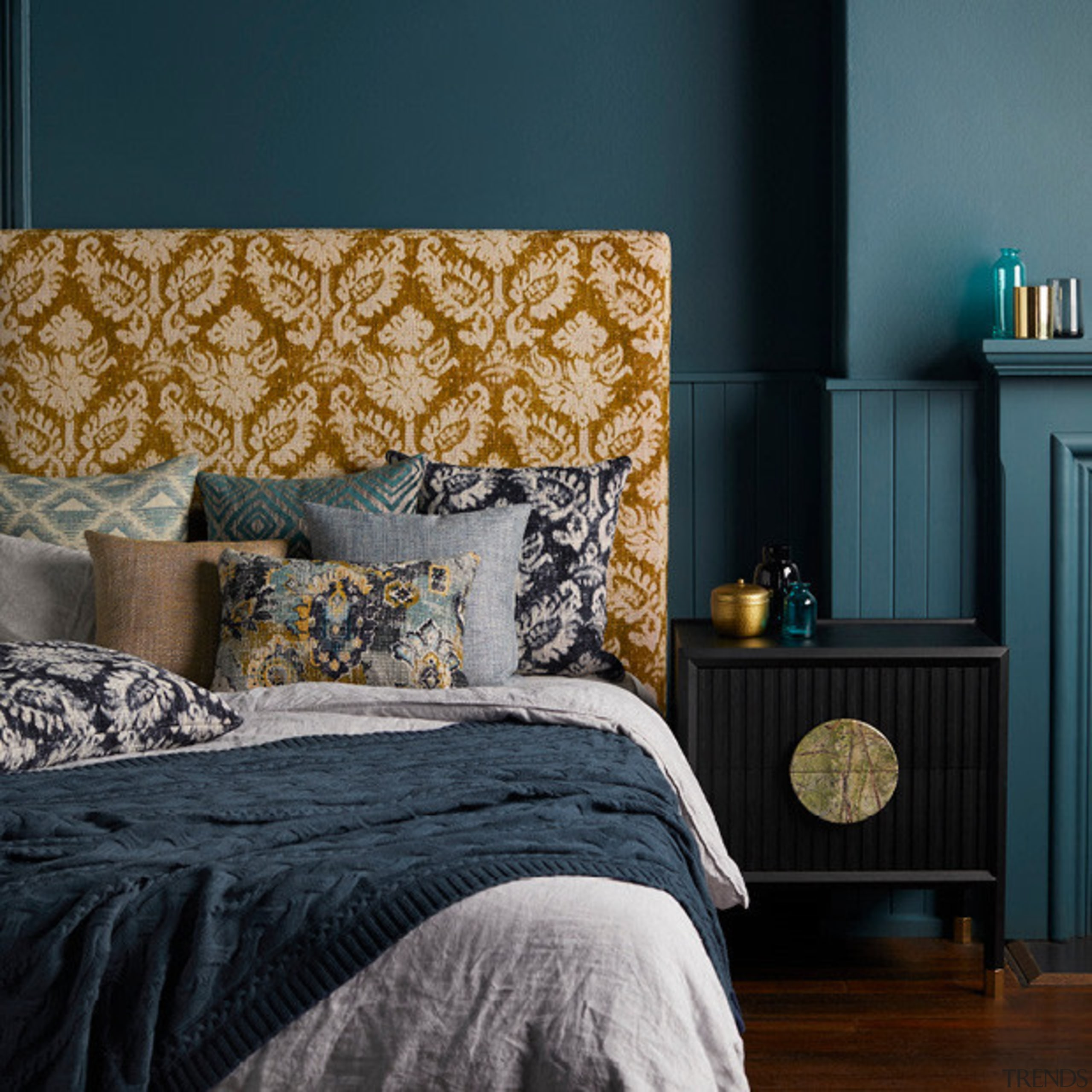 Persian influences and modern interpretations of textured weaves, bed, bed frame, bed sheet, bedding, bedroom, blue, duvet cover, home, interior design, linens, living room, room, textile, wall, window, black