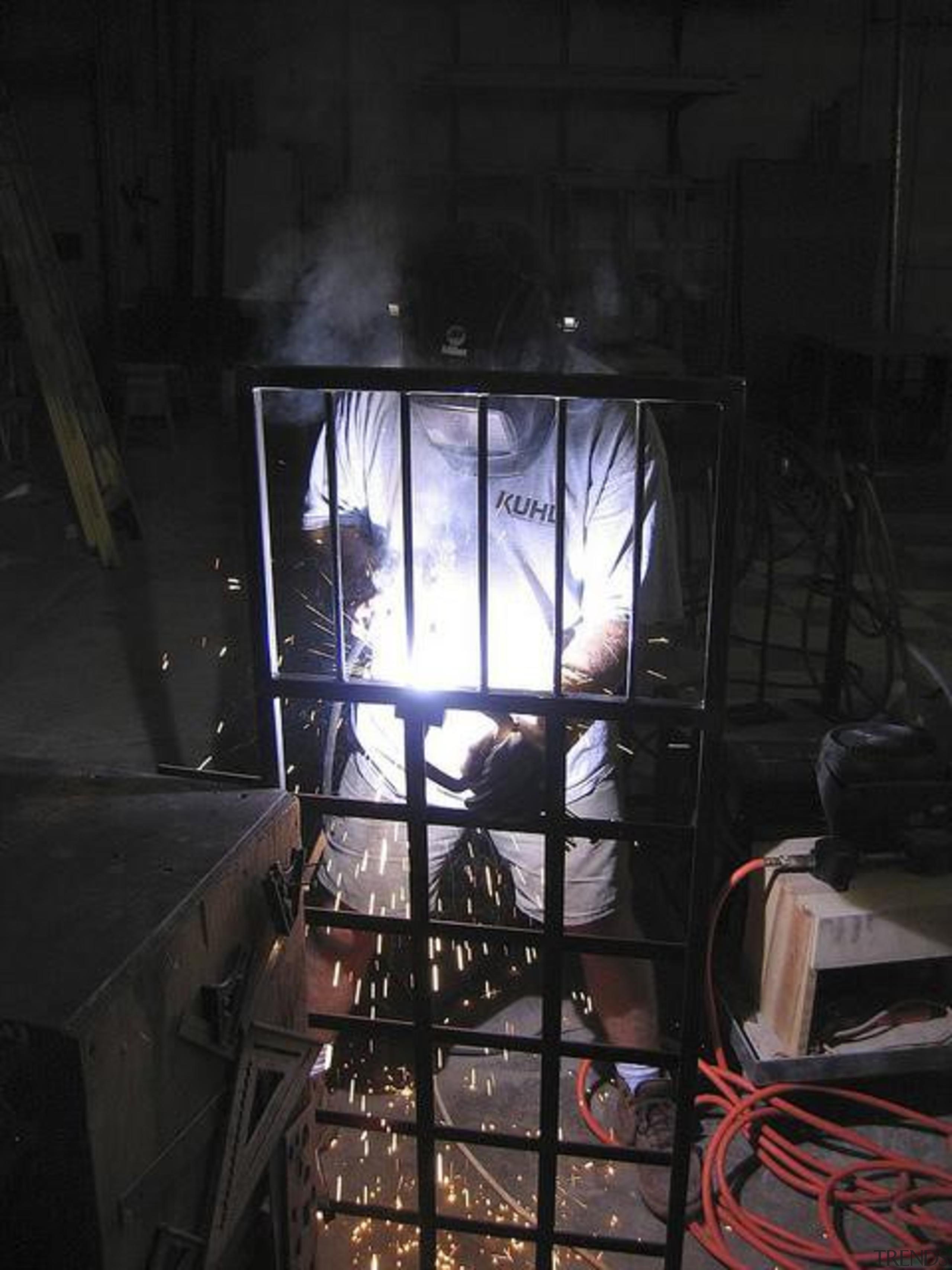 Created by Steve Kuhl of Kuhl Design Build, darkness, glass, light, metal, black