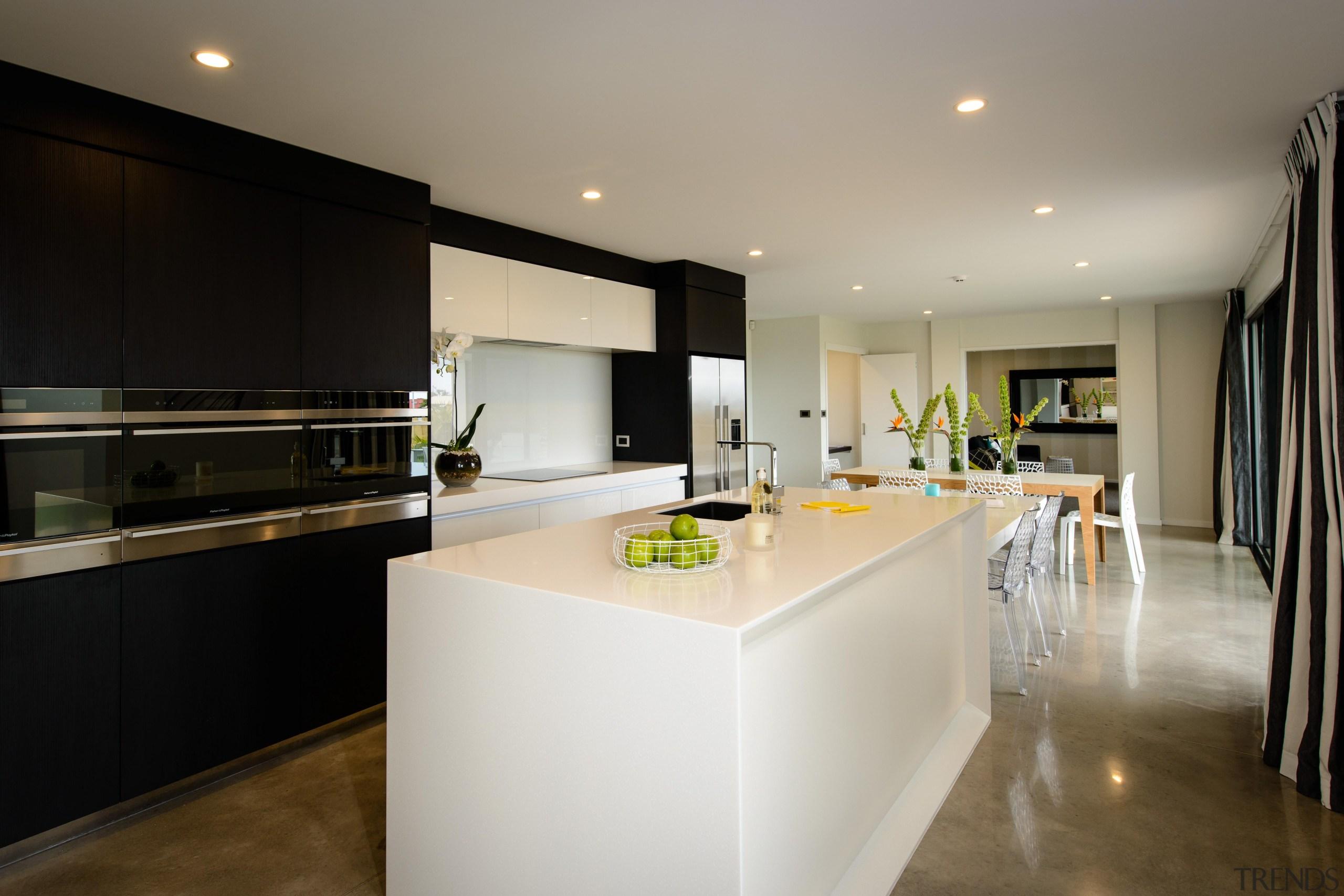 Modern showhome in TaranakiFor more information, please visit apartment, architecture, countertop, cuisine classique, house, interior design, kitchen, real estate, room, gray, black
