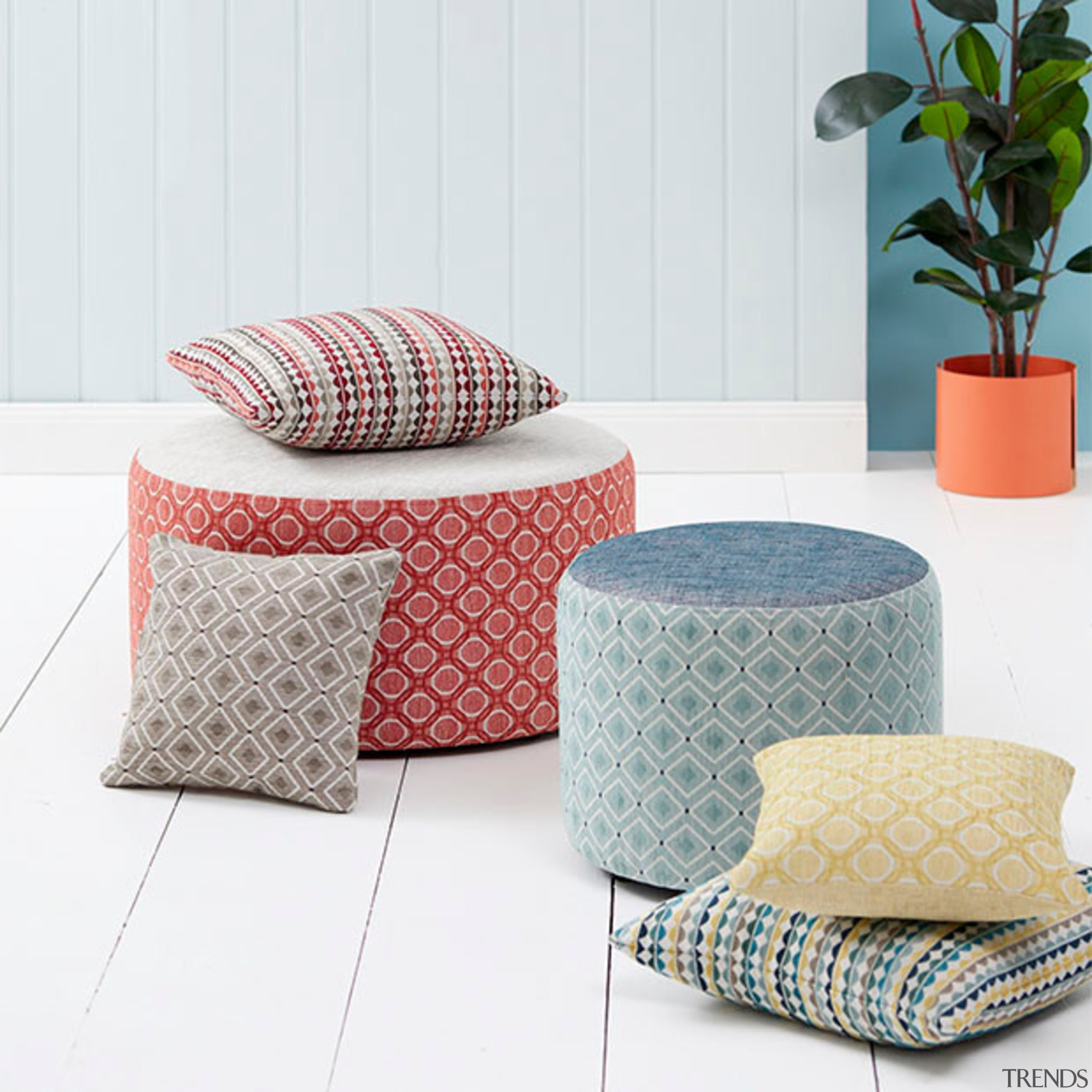 Bold, playful and unique, Nolan is a collection couch, cushion, furniture, pillow, table, white