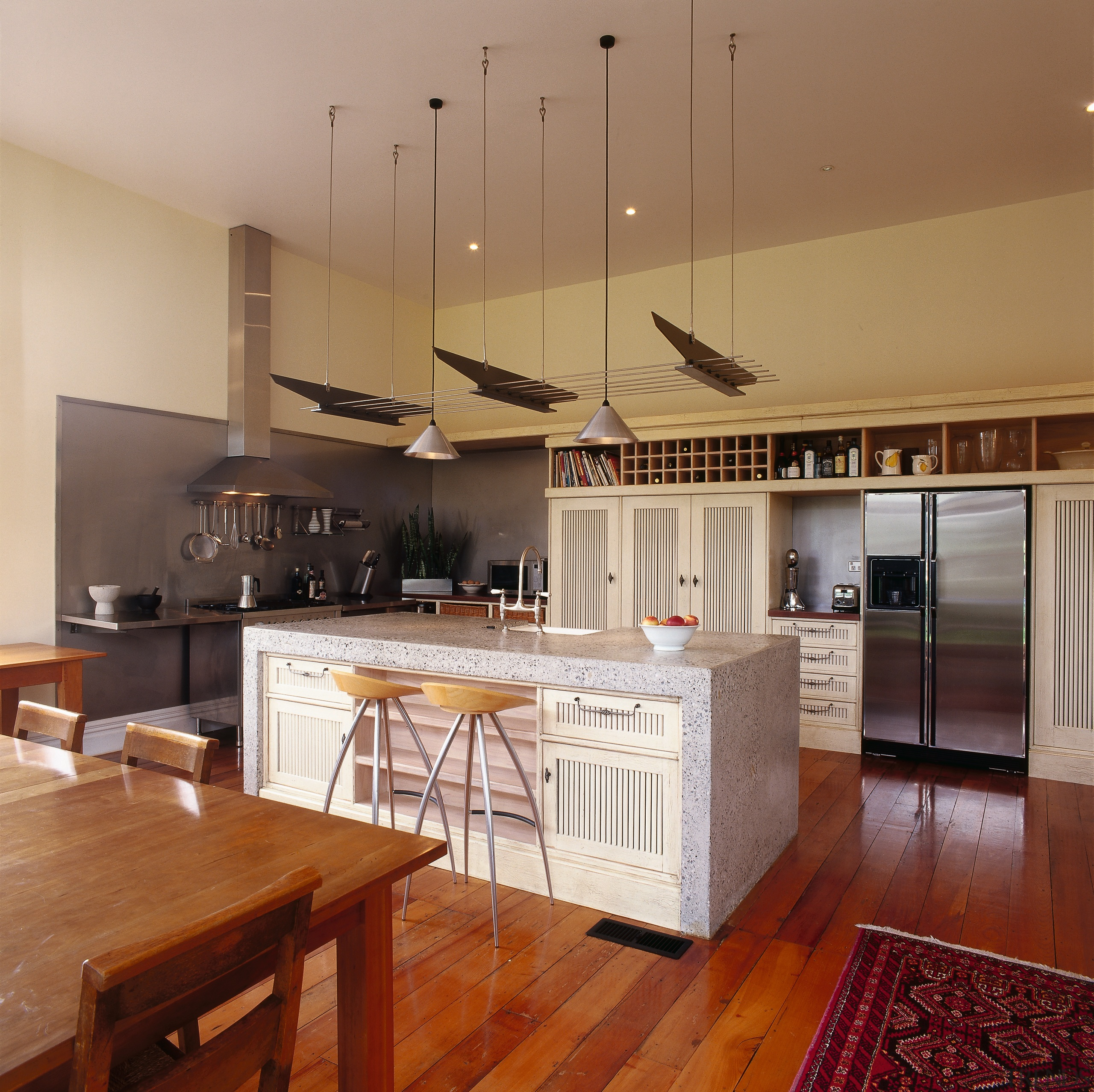 The view of a rural styled kitchen - cabinetry, ceiling, countertop, cuisine classique, floor, flooring, hardwood, interior design, kitchen, laminate flooring, real estate, room, wood flooring, brown