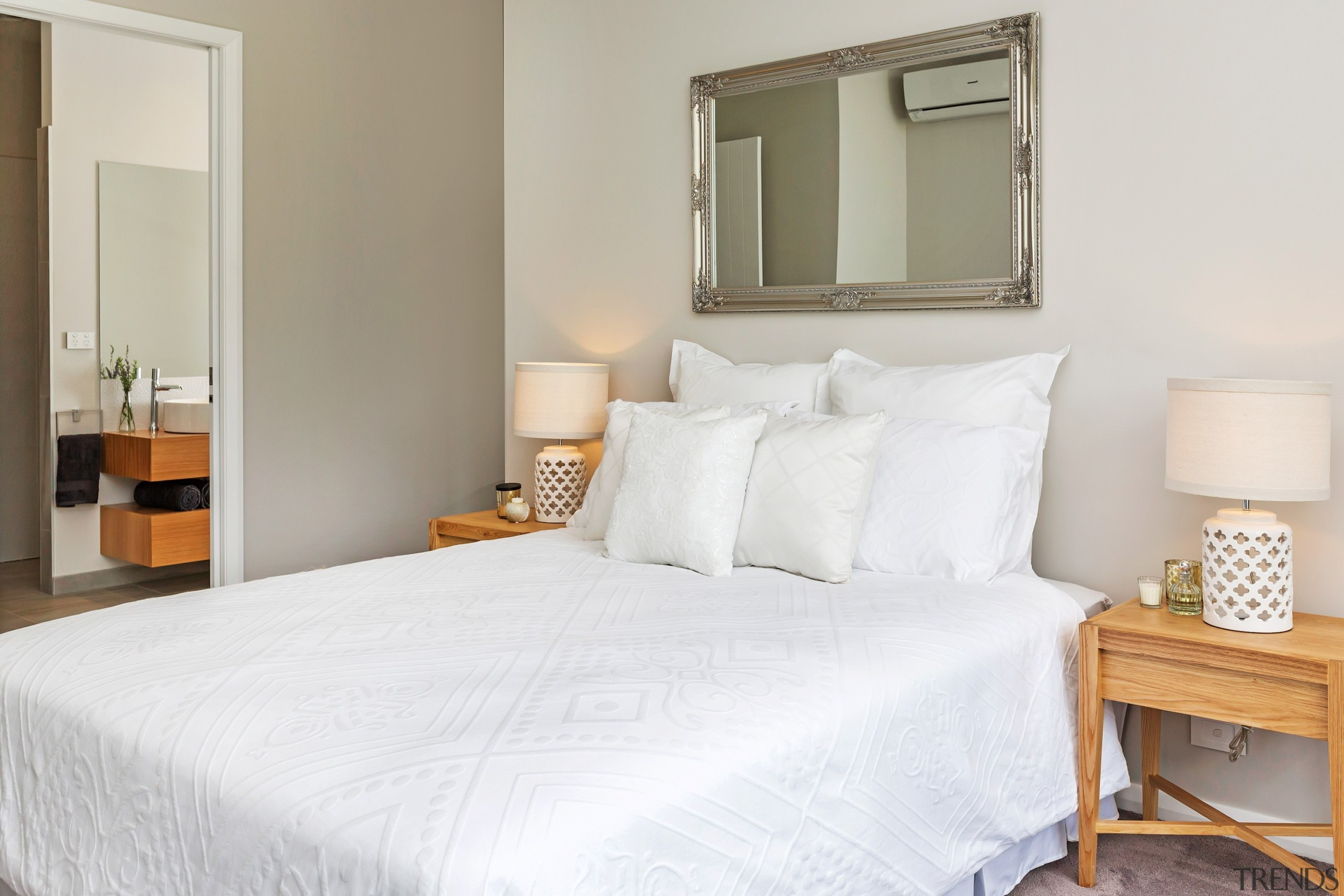 Master bedroom suite in Landmark Homes Whangarei Showhome, bed, bed frame, bed sheet, bedroom, home, interior design, real estate, room, suite, gray