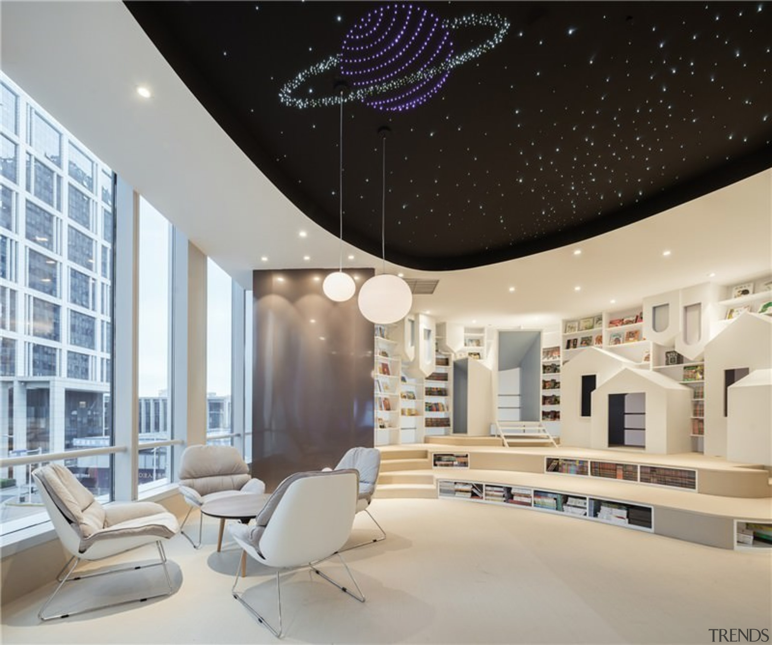 A new take on the bookstore - A ceiling, daylighting, interior design, living room, product design, gray