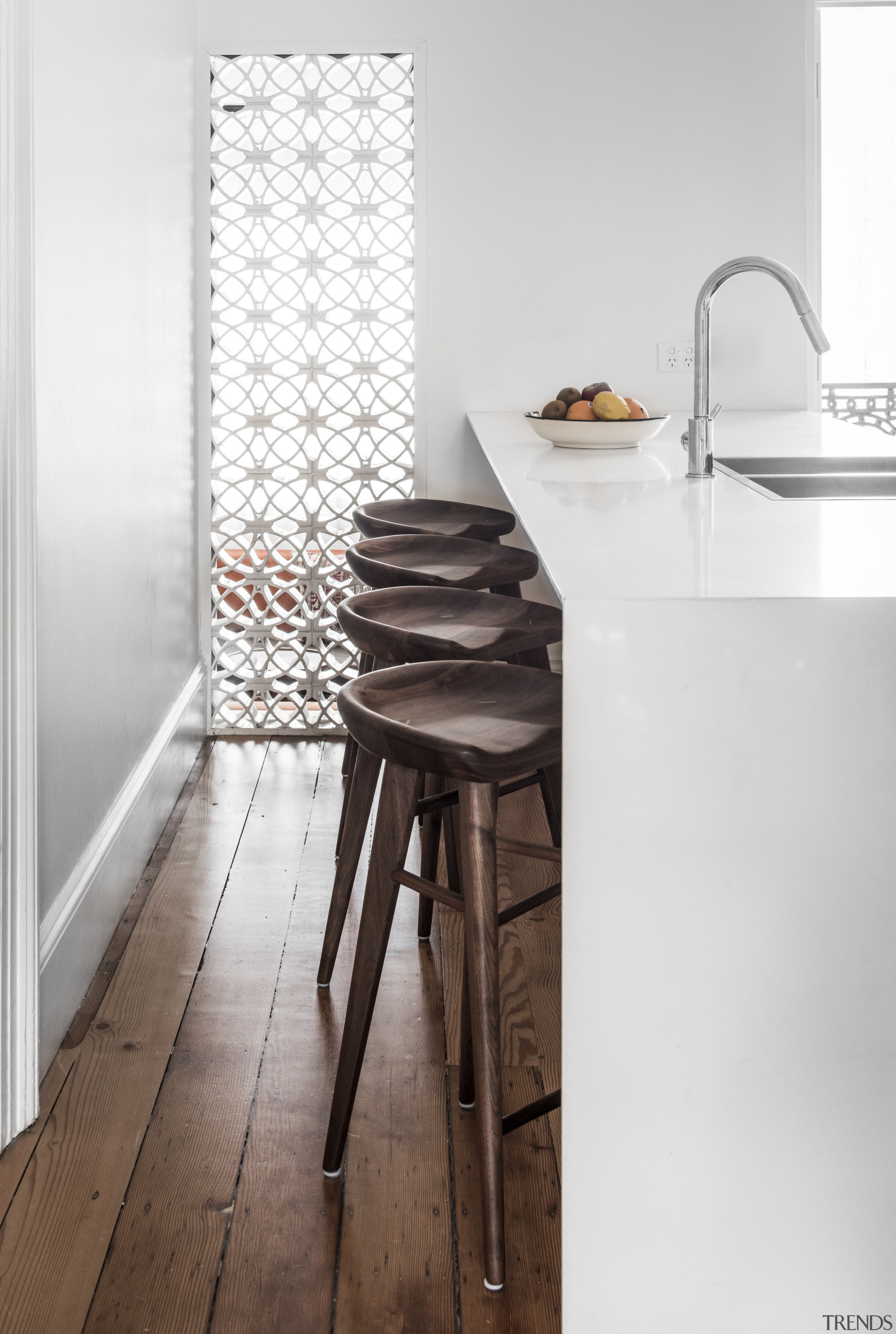 Touch of Morocco  a decorative tile wall chair, floor, flooring, furniture, interior design, product design, table, tap, tile, wall, white
