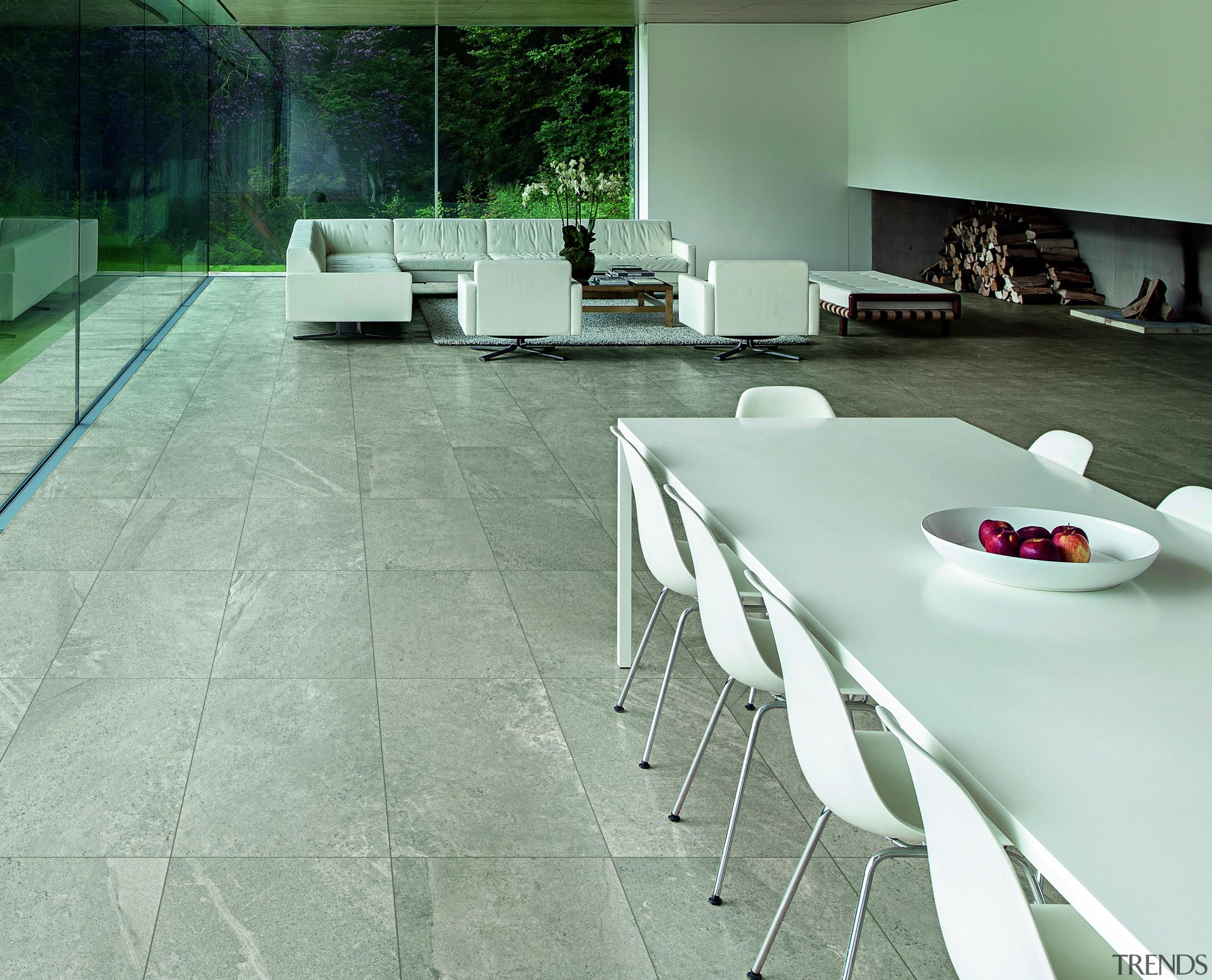 Blendstone grey living area interior floor tile - architecture, chair, floor, flooring, furniture, interior design, product design, table, tile, gray, green