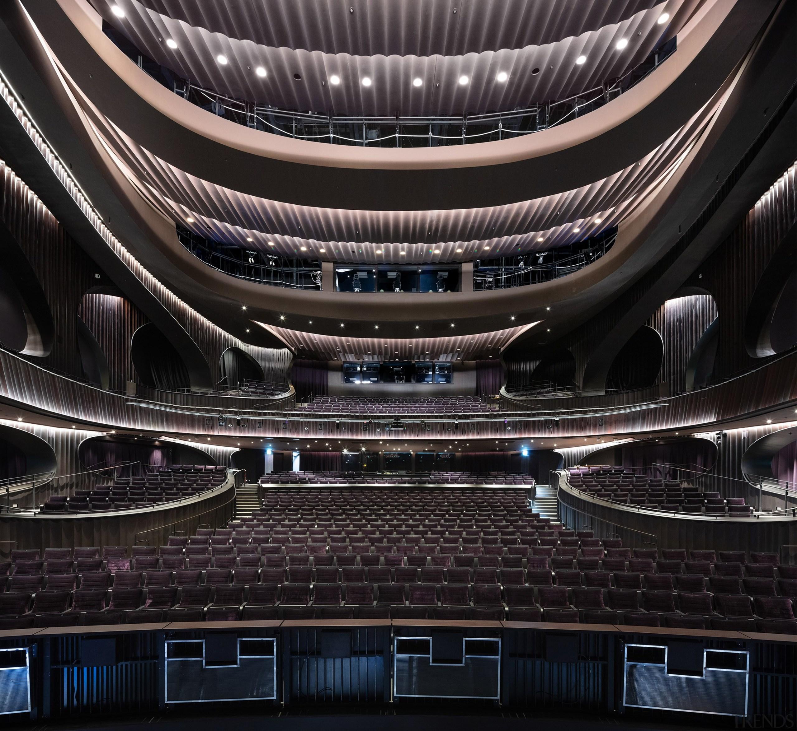 Xiqu Centre's breathtaking 1,073-seat Grand Theatre. architecture, automotive design, automotive exterior, building, ceiling, metal, opera house, performing arts center, stage, black