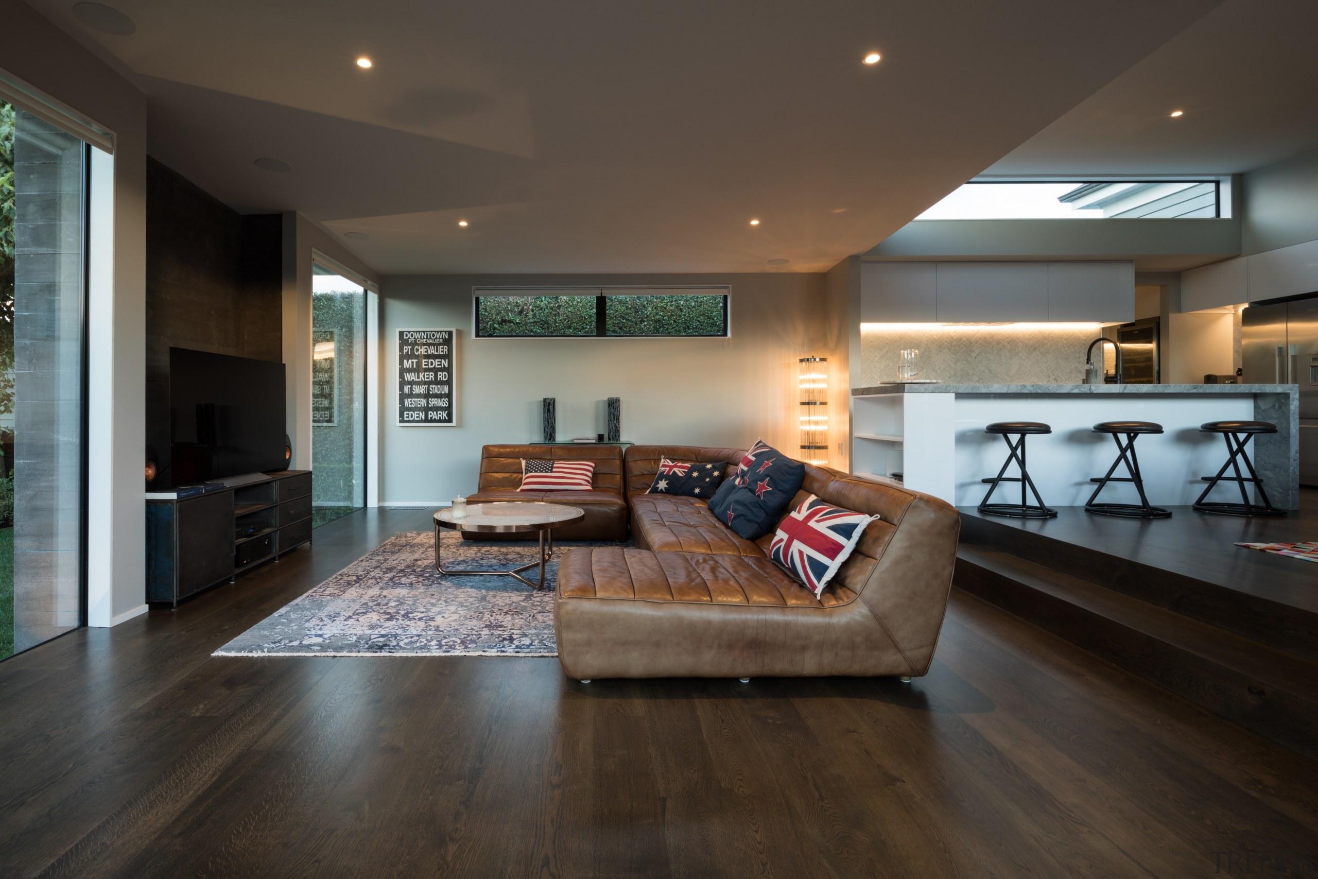 Winner – Creative Arch – 2018 TIDA New architecture, ceiling, floor, flooring, hardwood, home, house, interior design, laminate flooring, living room, real estate, room, wood, wood flooring, black, gray