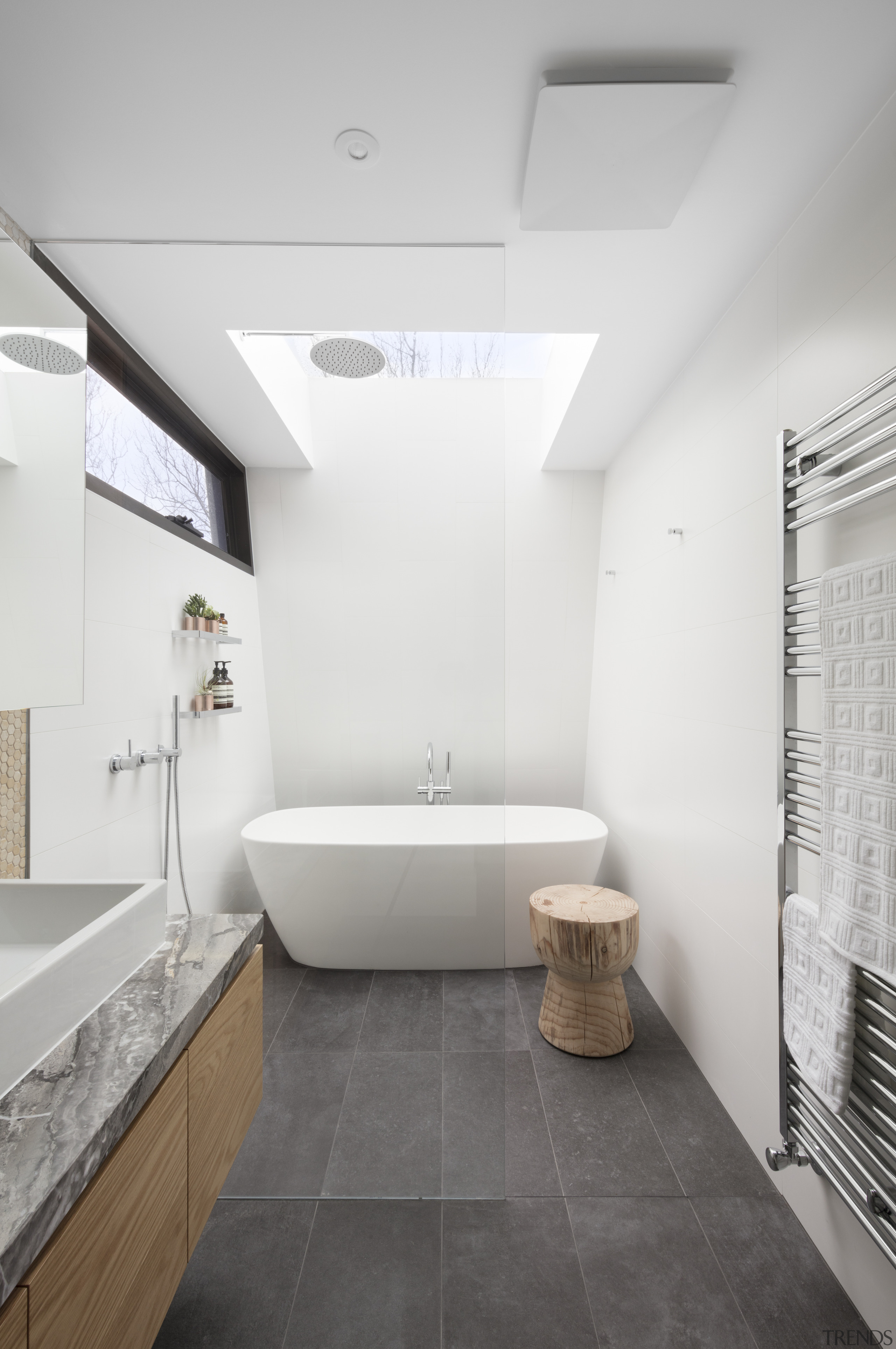 Mcmahon and Nerlich – Highly Commended – TIDA architecture, bathroom, ceiling, daylighting, floor, home, interior design, plumbing fixture, real estate, room, sink, tile, white