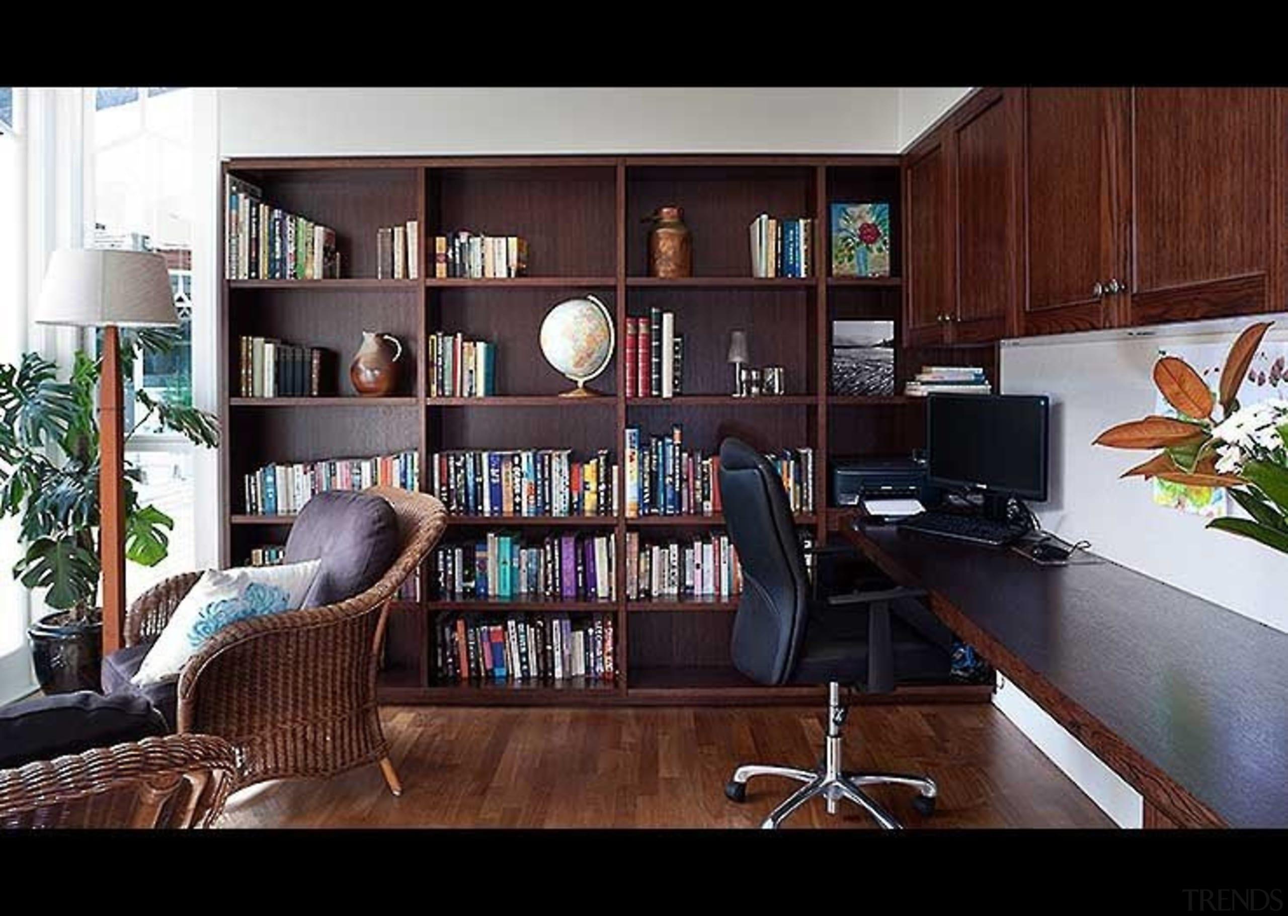 New Wing Study - bookcase | furniture | bookcase, furniture, home, interior design, living room, shelf, shelving, red, black