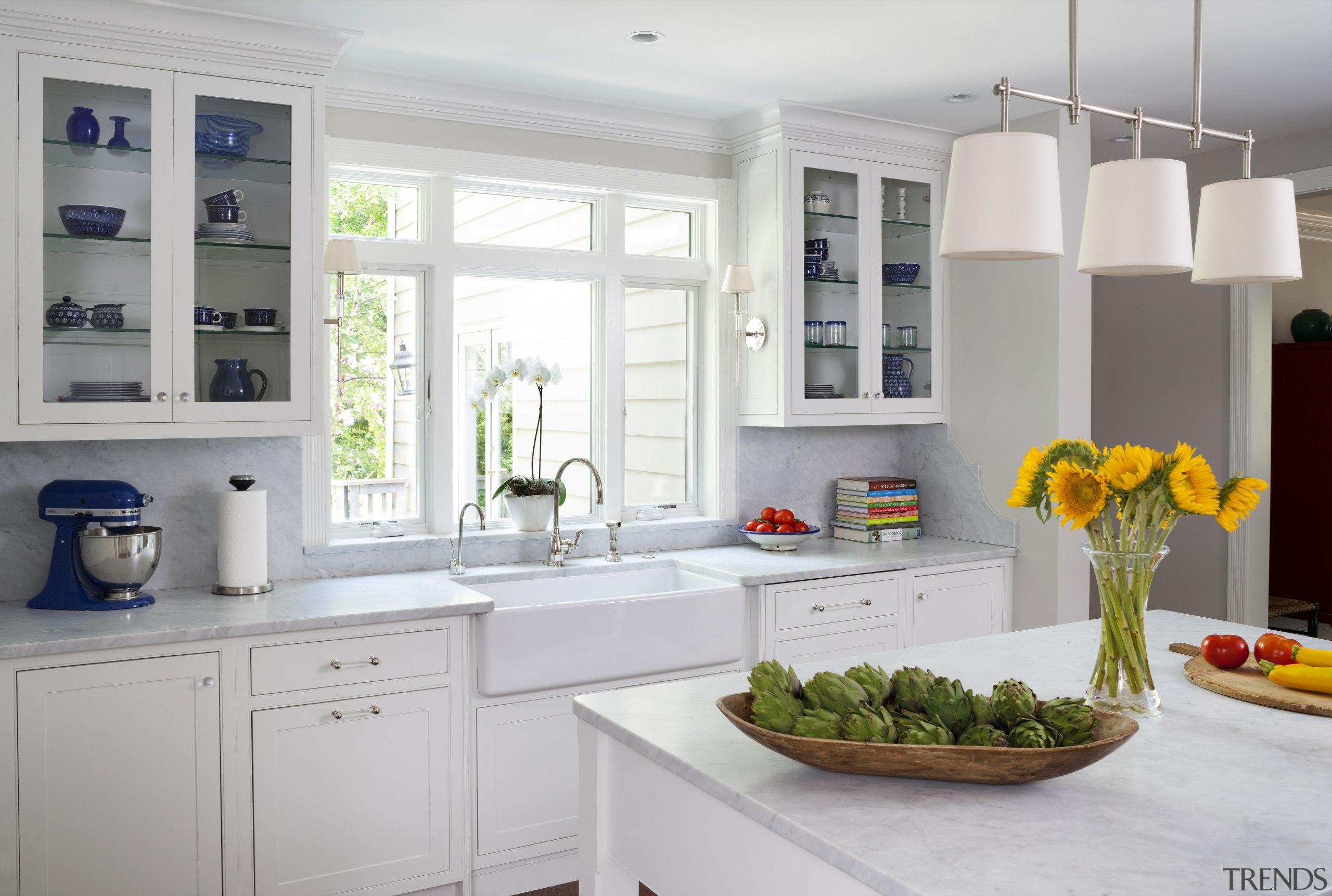 For this kitchen, designer Jan Goldman, of Kitchen cabinetry, countertop, cuisine classique, home appliance, interior design, kitchen, room, window, gray