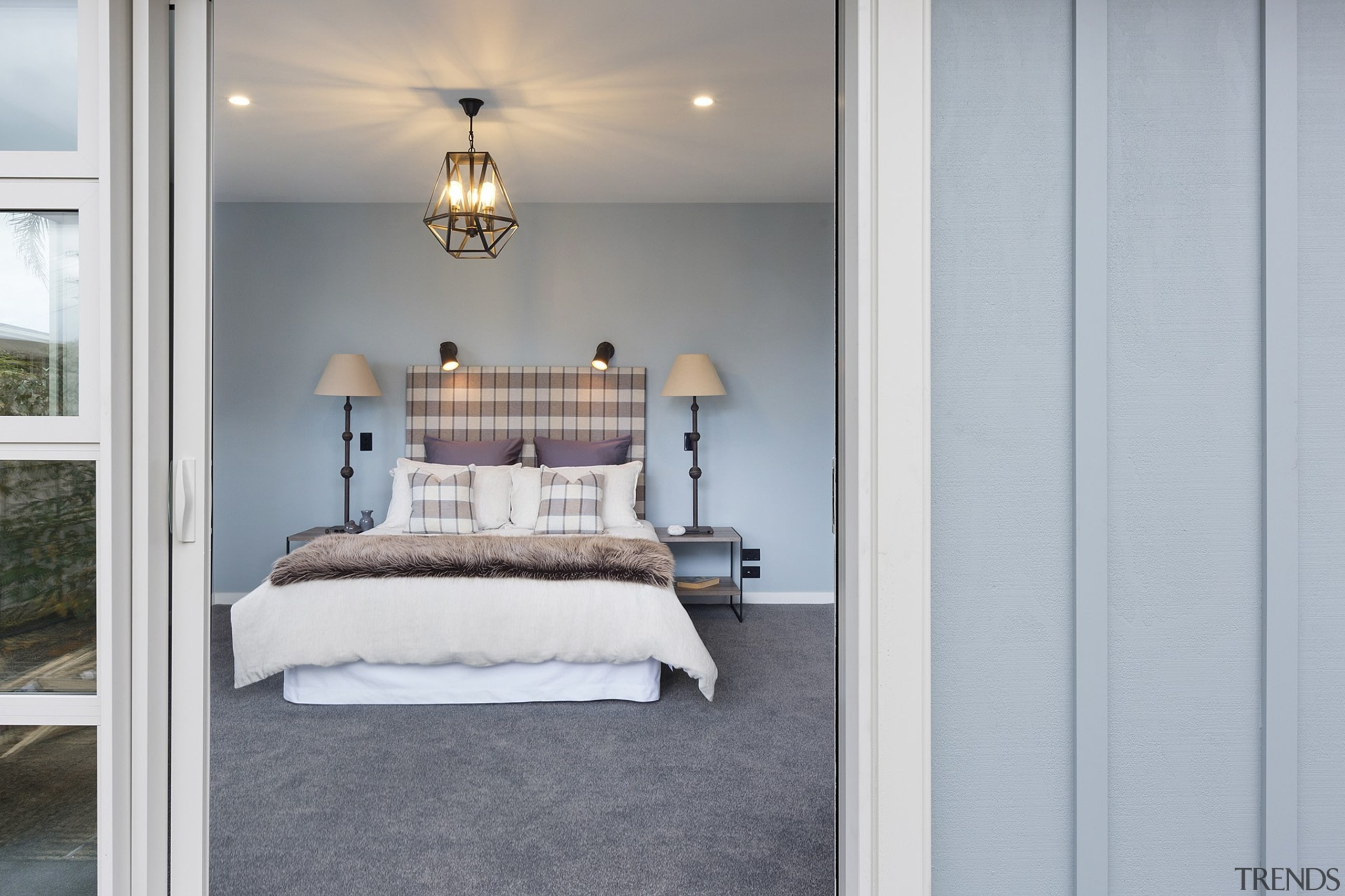 The Maxwell Design Master Bedroom - The Maxwell bed frame, bedroom, floor, furniture, home, interior design, real estate, room, wall, window, gray