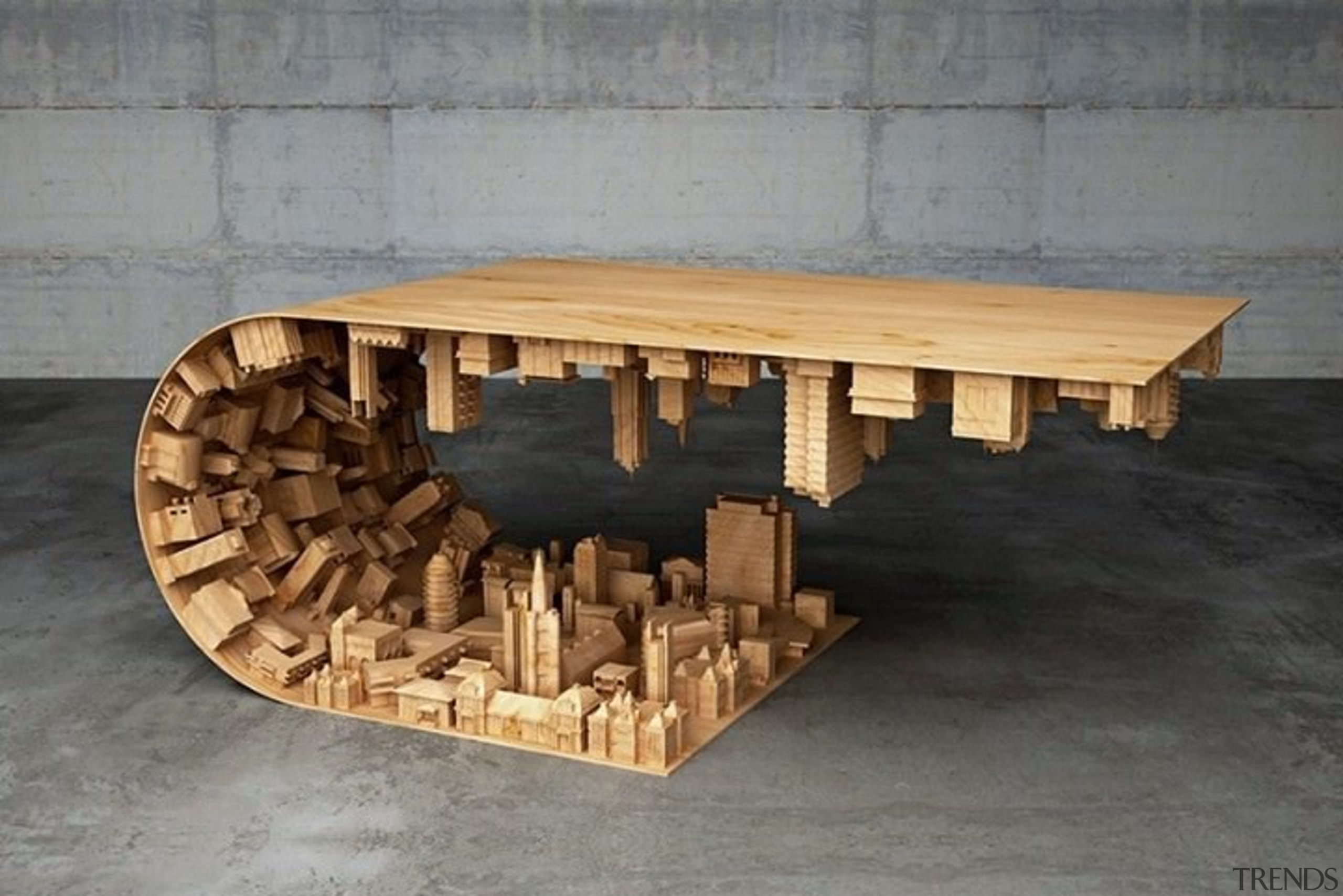 The wave city coffee table - The wave furniture, product design, table, wood, gray