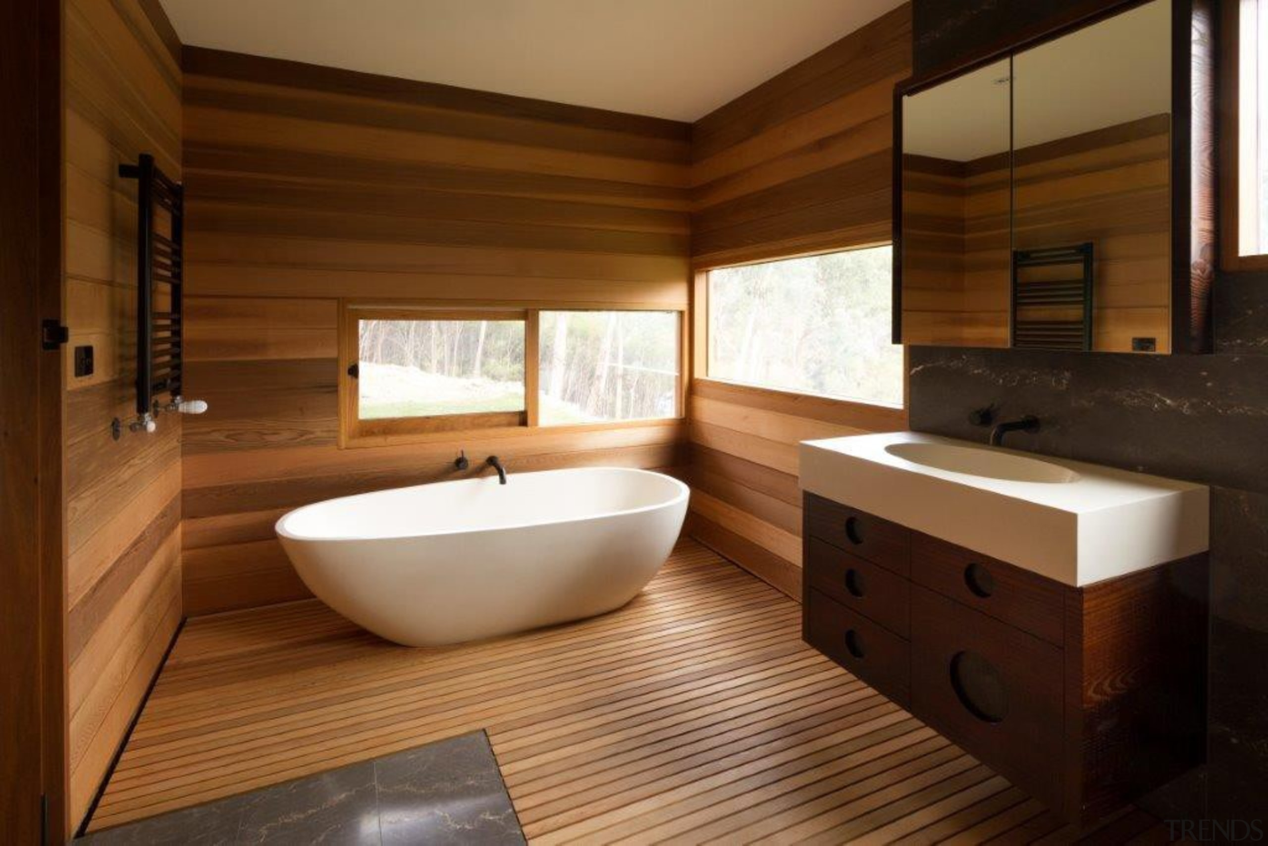 If you seek a perfect bathing experience, where architecture, bathroom, floor, flooring, hardwood, interior design, room, wood, wood flooring, brown