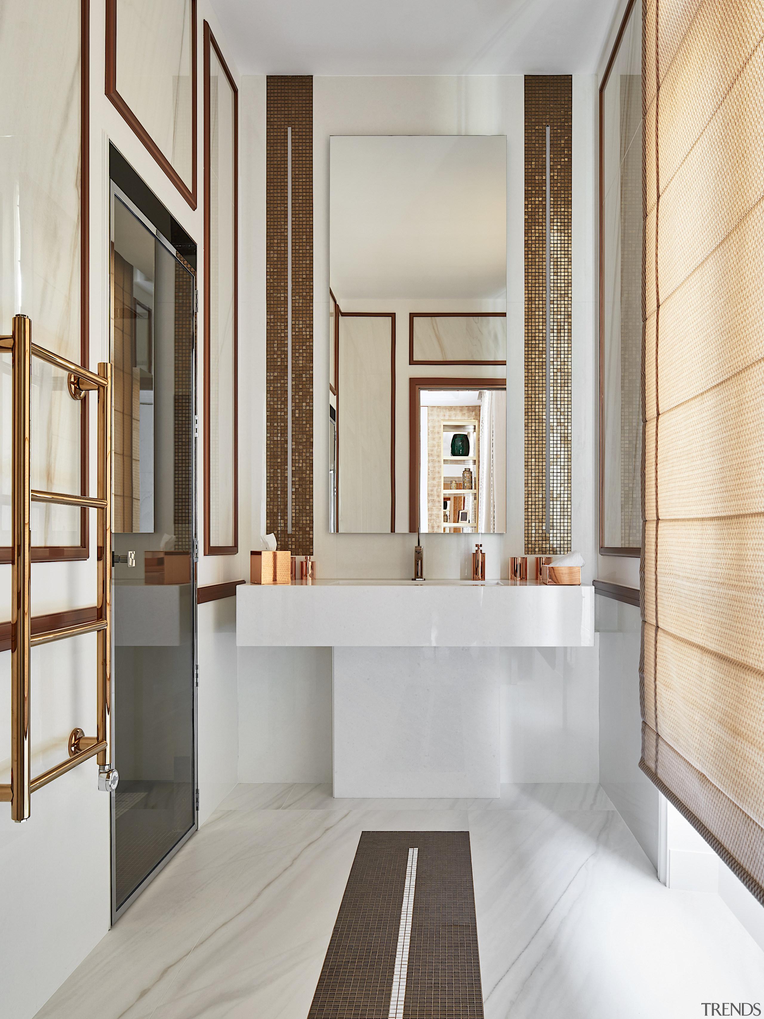 This bathroom celebrates a harmonic balance between marble gray