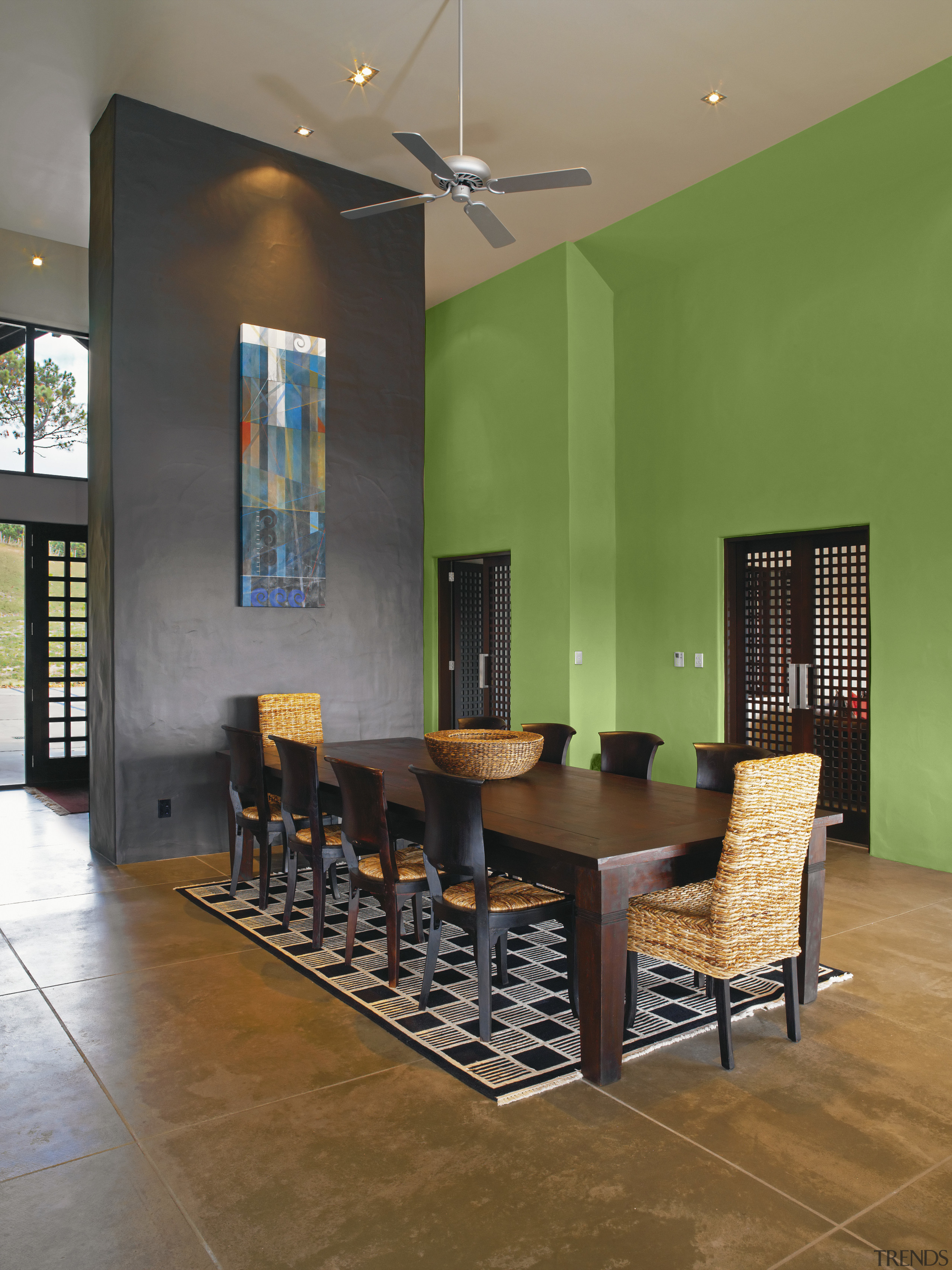 View of a dining room which features wall architecture, ceiling, chair, dining room, floor, flooring, furniture, interior design, living room, lobby, real estate, room, table, wall, wood flooring, brown