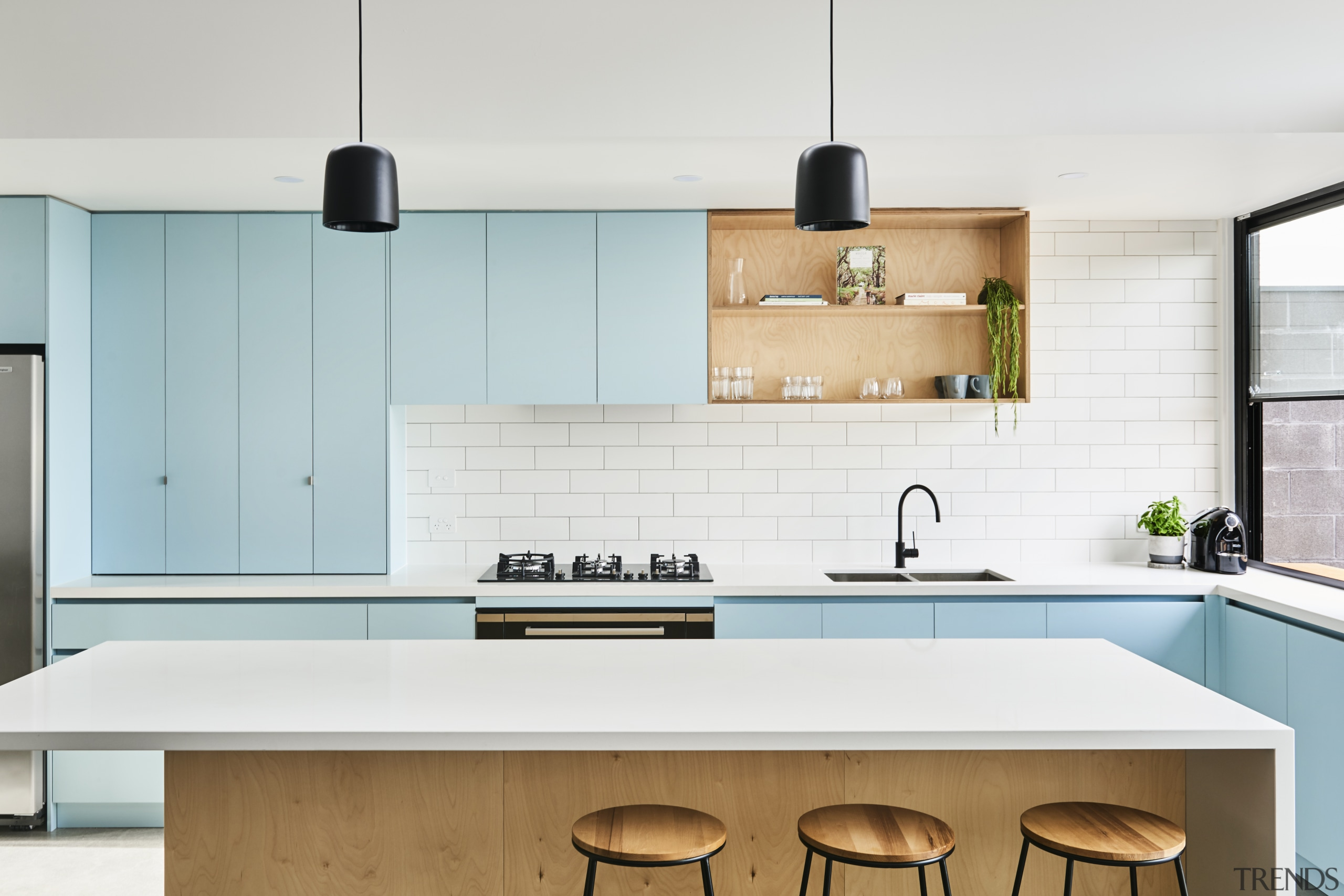 This colourful kitchen features a combination of laminate architecture, building, cabinetry, ceiling, countertop, floor, furniture, hardwood, home, house, interior design, kitchen, kitchen stove, material property, plywood, property, room, sink, tile, wood, white