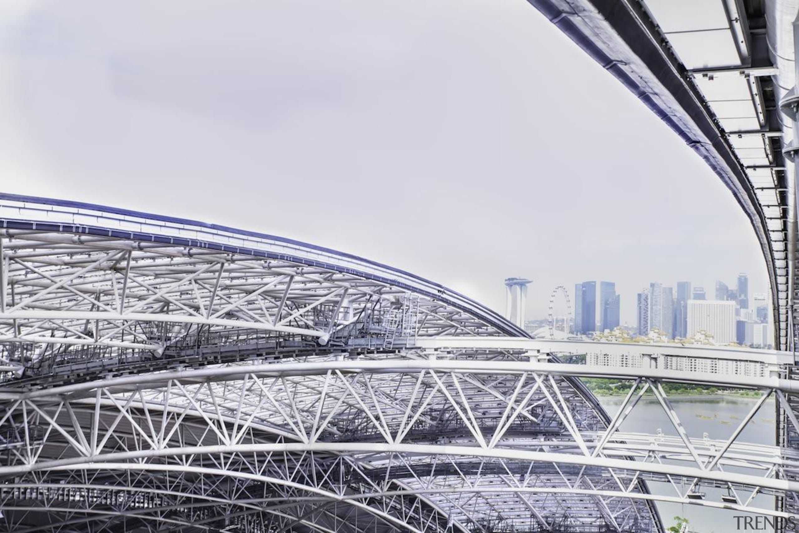 Singapore-based engineering company MHE-Demag provided the roof moving architecture, bridge, building, daytime, fixed link, landmark, line, metropolis, metropolitan area, sky, skyway, sport venue, stadium, structure, urban area, white