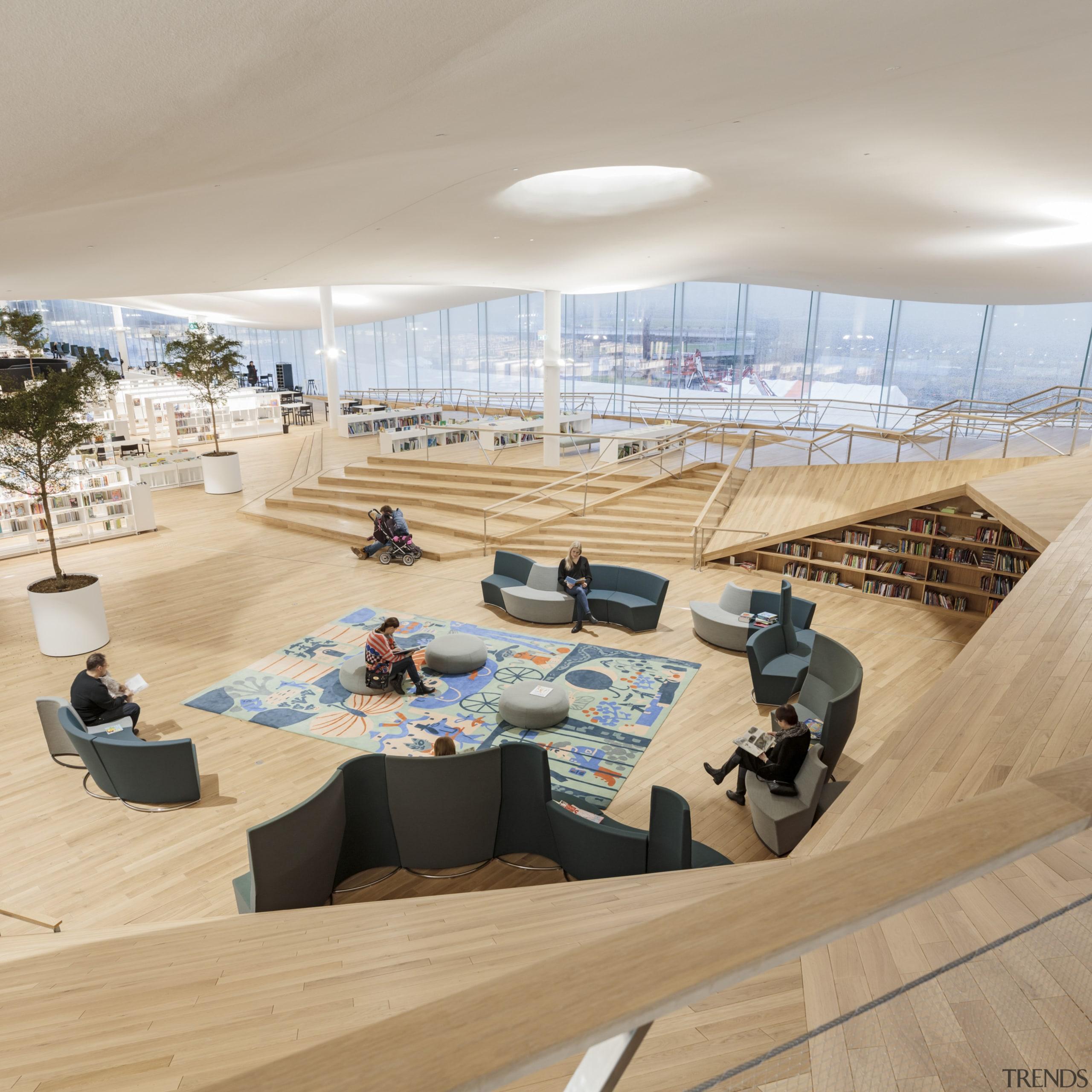 Column-free areas are a feature of the new architecture, building, design, floor, interior design, room, sport venue, gray