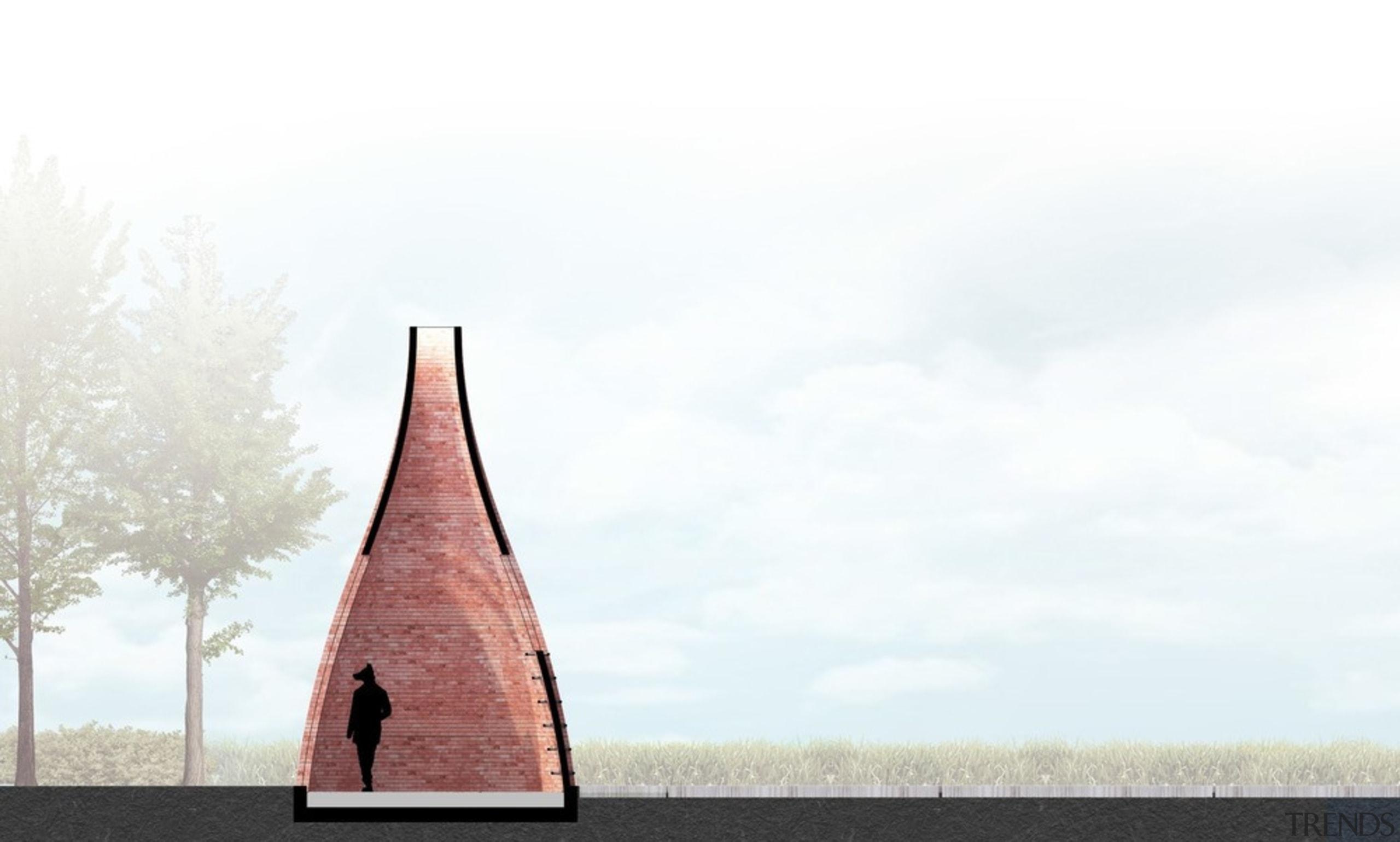 """Le dernier petit cochon"" or ""The last one architecture, sky, steeple, tree, white"