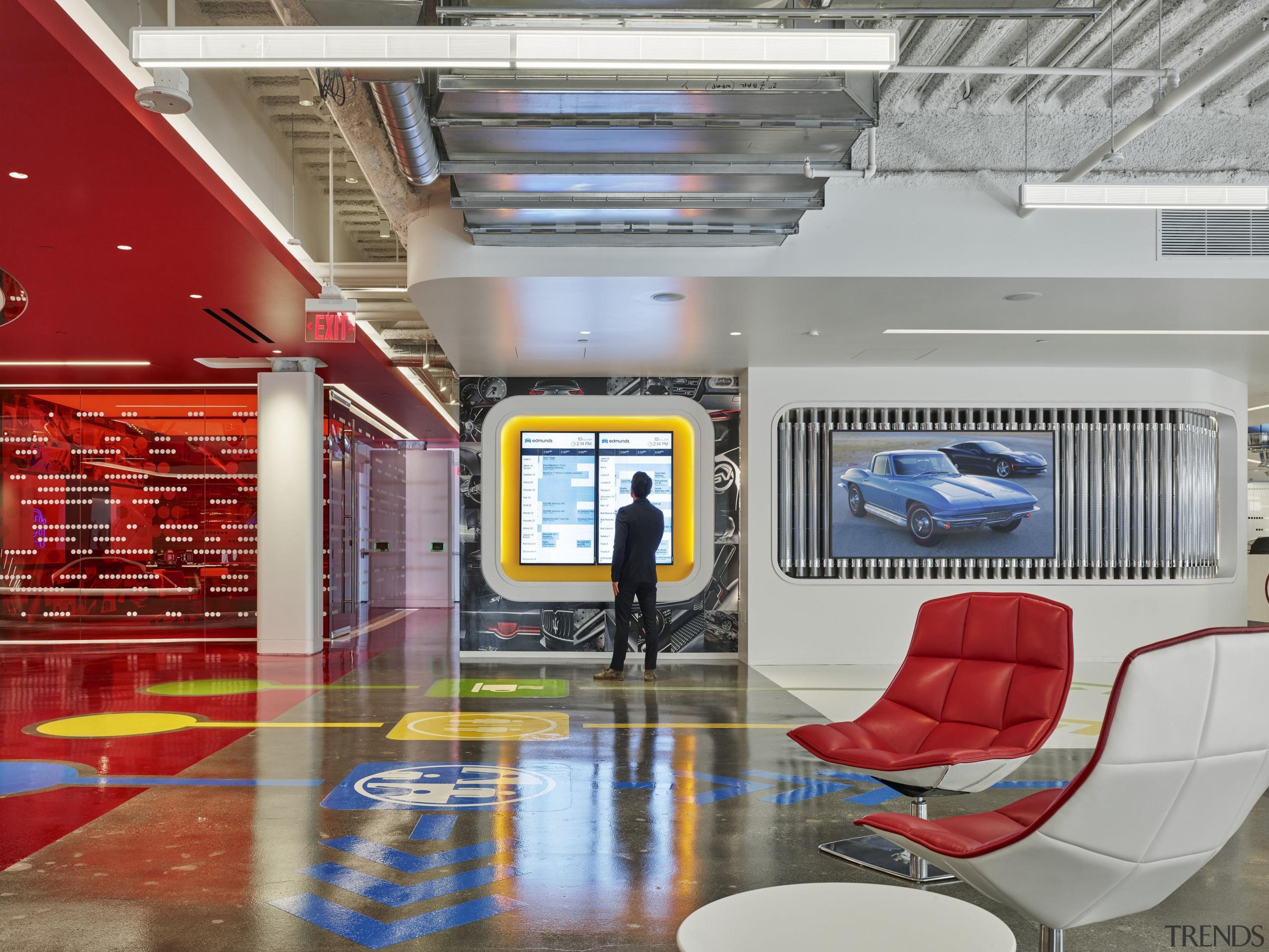 The main lobby at Edmunds.com headquarters. To the ceiling, interior design, lobby, gray