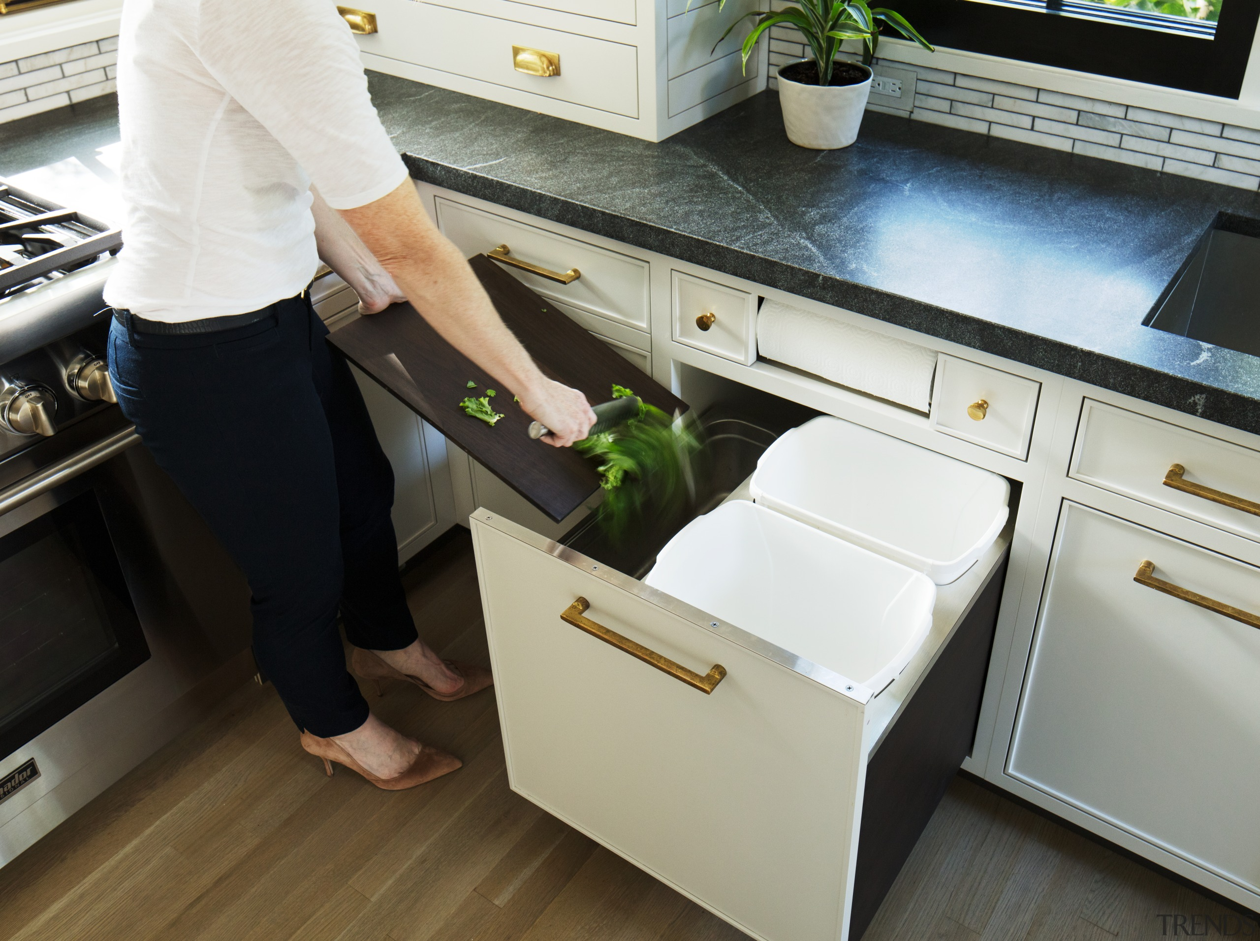 This kitchen by designer Sarah Robertson, of Studio cabinetry, drawers, countertop, Studio Dearborne