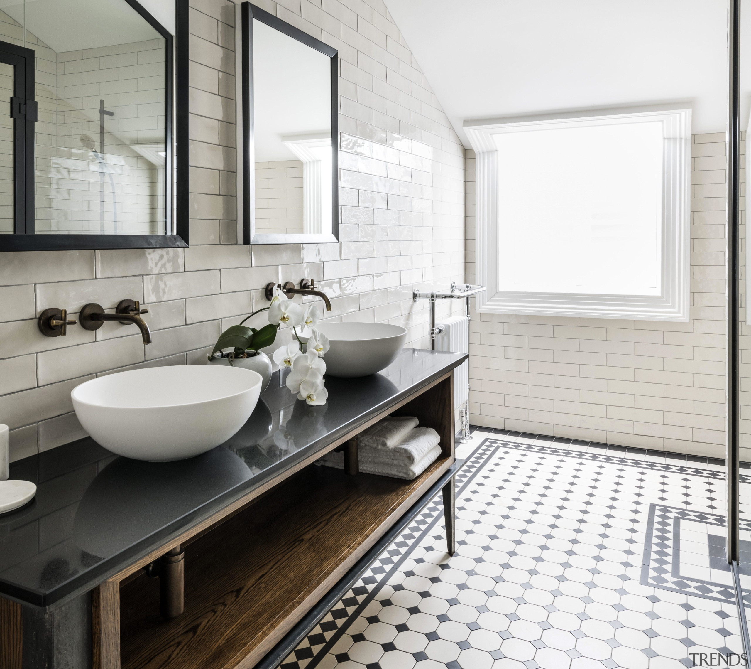 Detail by Davinia Sutton – Highly Commended – architecture, bathroom, black-and-white, building, ceramic, floor, flooring, furniture, home, house, interior design, plumbing fixture, property, real estate, room, sink, tile, wall, white