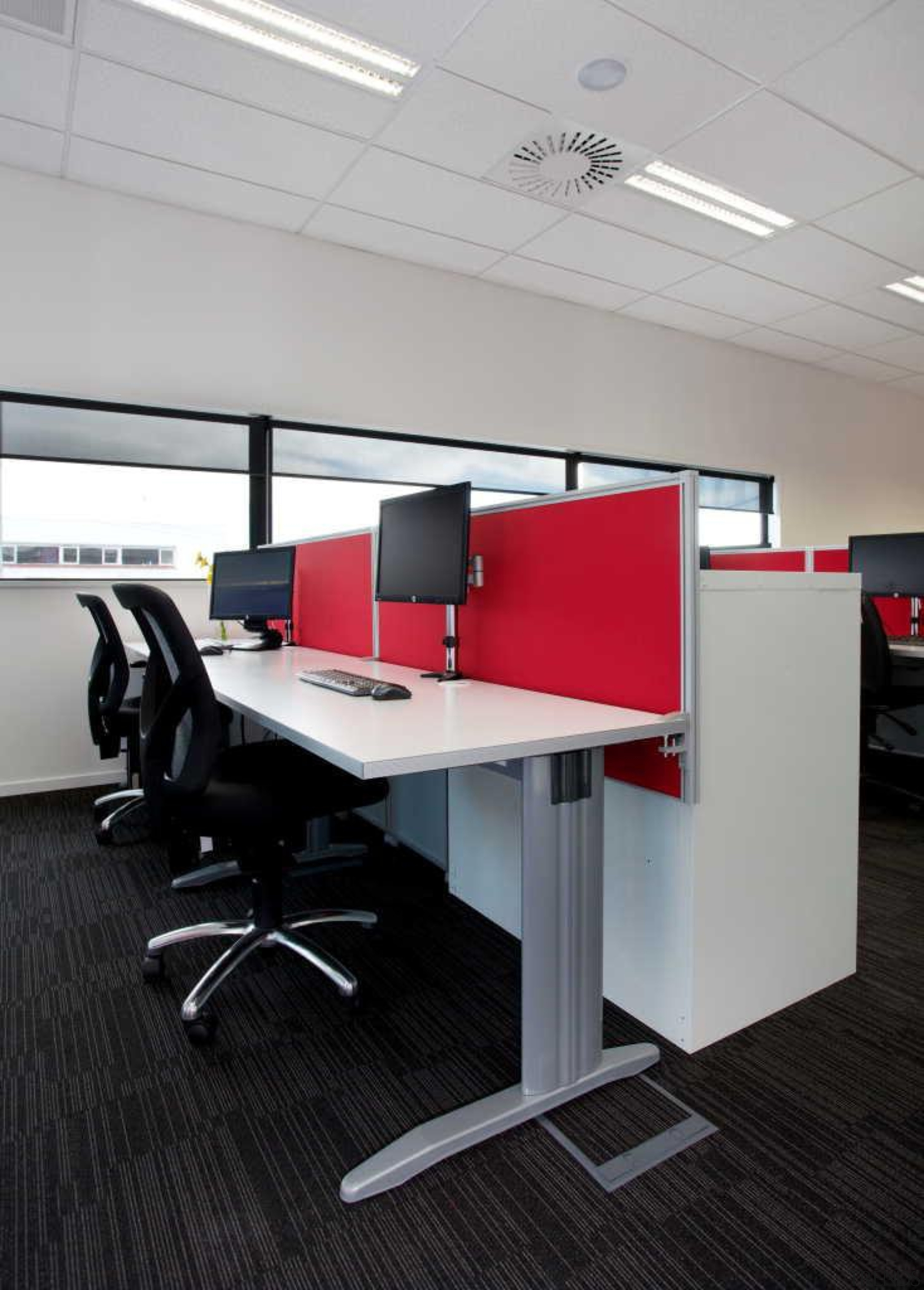 Interiors @ OfficeMax custom designed workstations and supplied angle, desk, floor, furniture, interior design, office, office chair, product design, table, gray, black