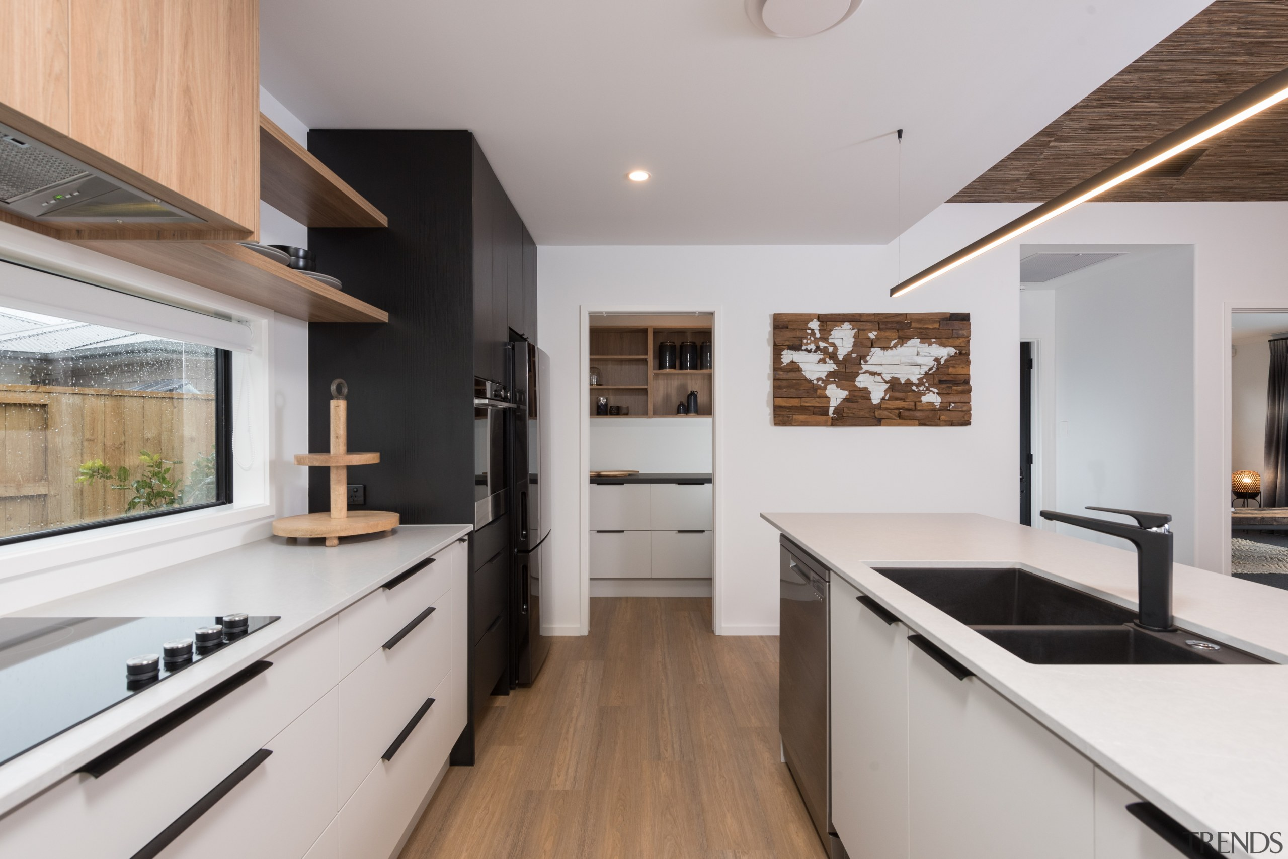 The expansive wood and white with black trim