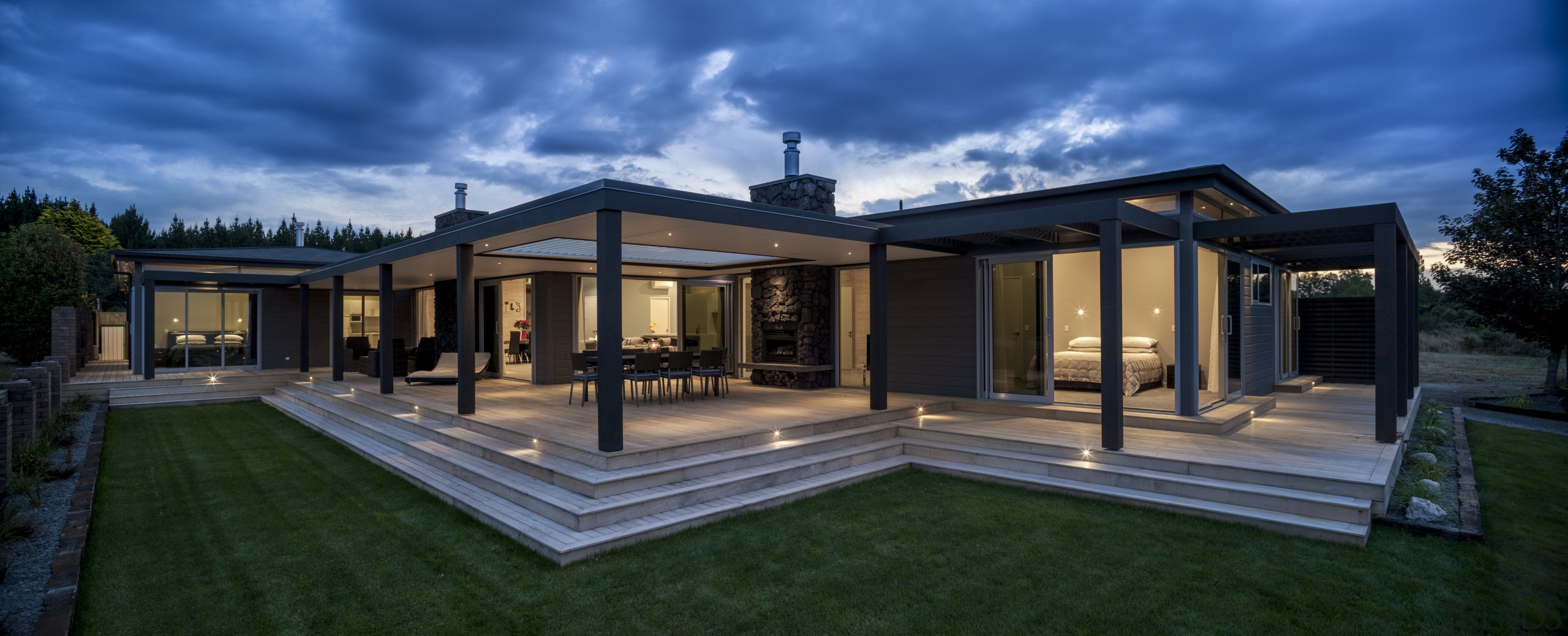 Lockwood Home built by Peter Richards - Lockwood architecture, backyard, estate, facade, home, house, lighting, mansion, orangery, property, real estate, residential area, roof, sky, villa, window, blue