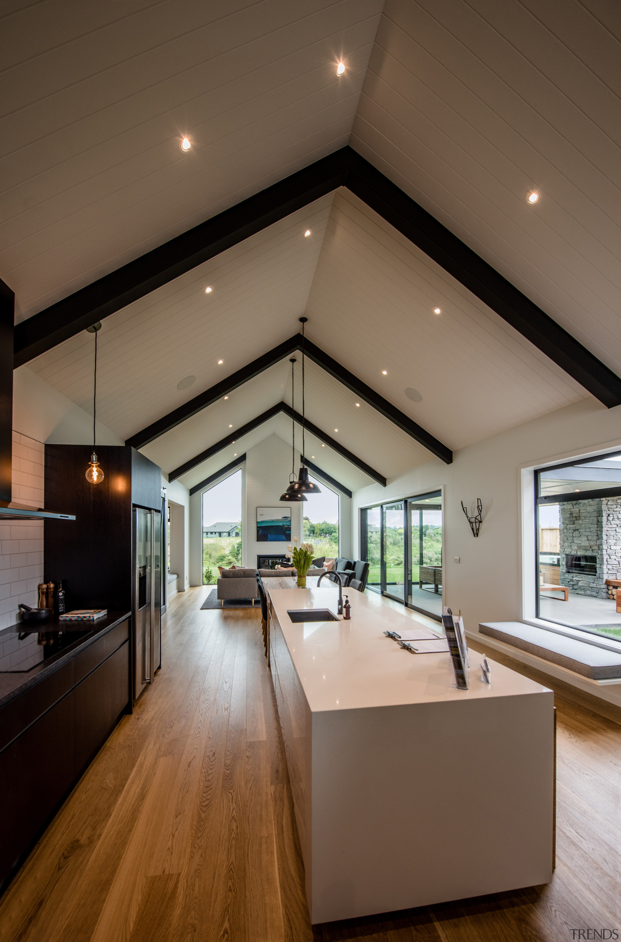 James Hardies Axon Panel provides the strong, deep architecture, ceiling, daylighting, floor, flooring, house, interior design, living room, real estate, wood flooring, brown