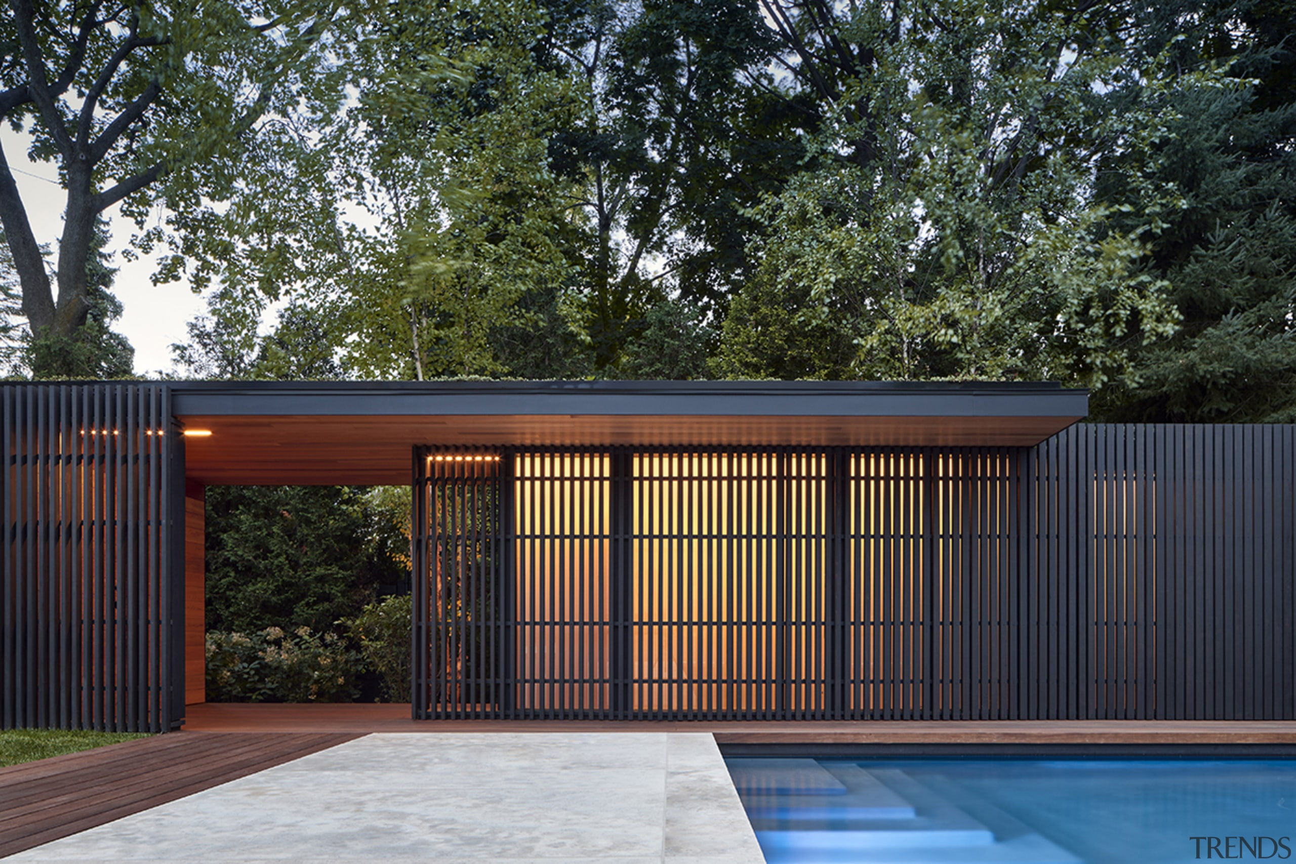 This new pavilion is part functional out building black