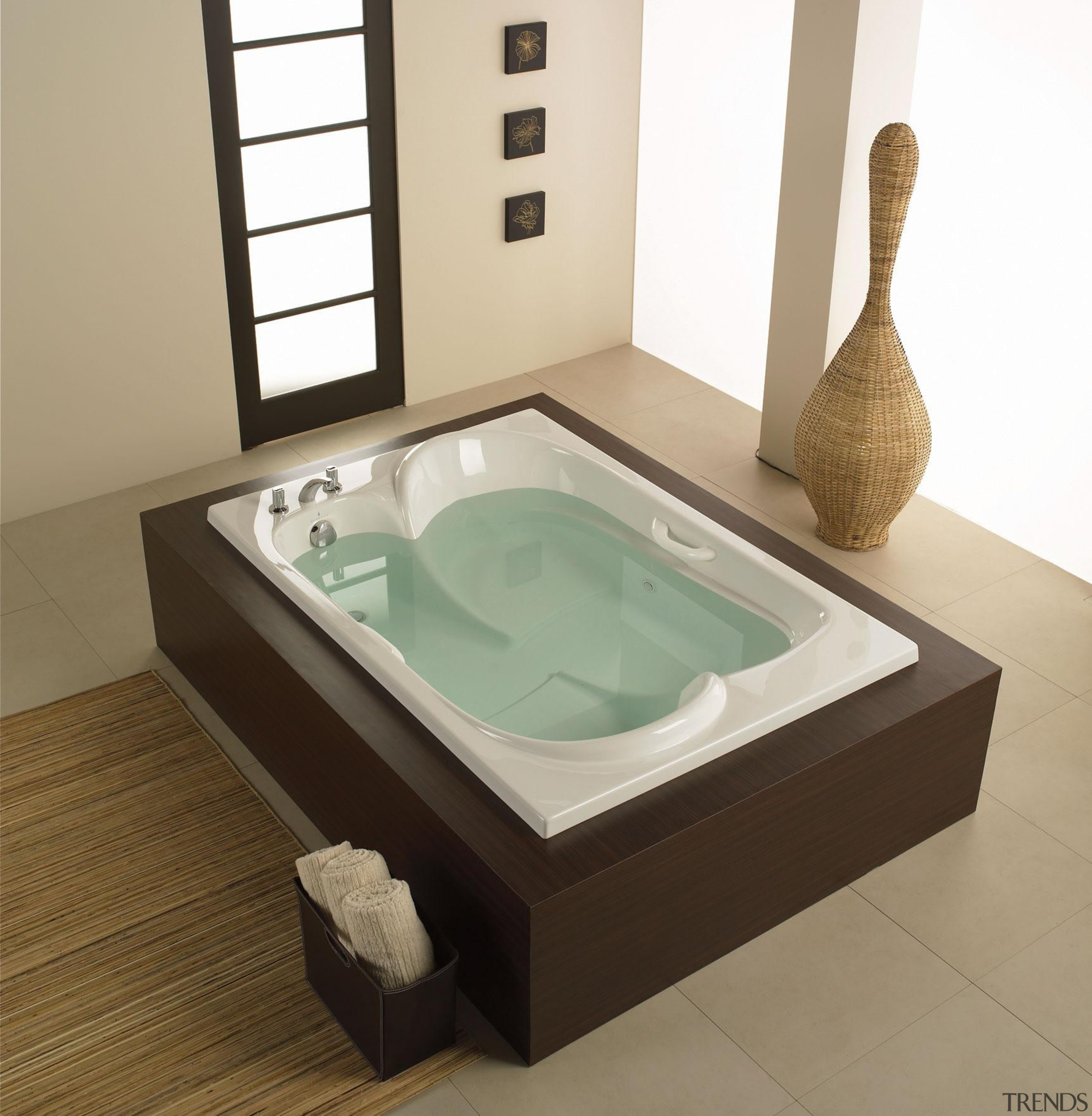 Perfect for a spa like design, this Amma bathroom sink, bathtub, jacuzzi, plumbing fixture, product design, sink, tap, white, brown