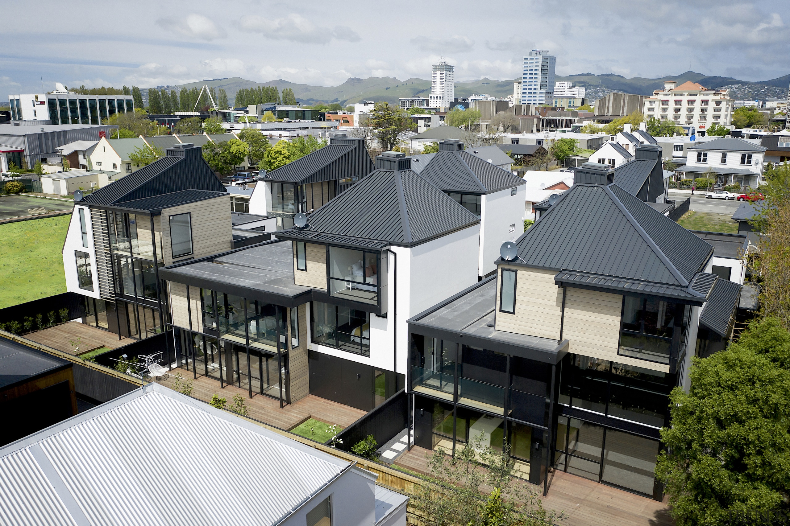 For this development of six three-storey, freestanding townhouses,