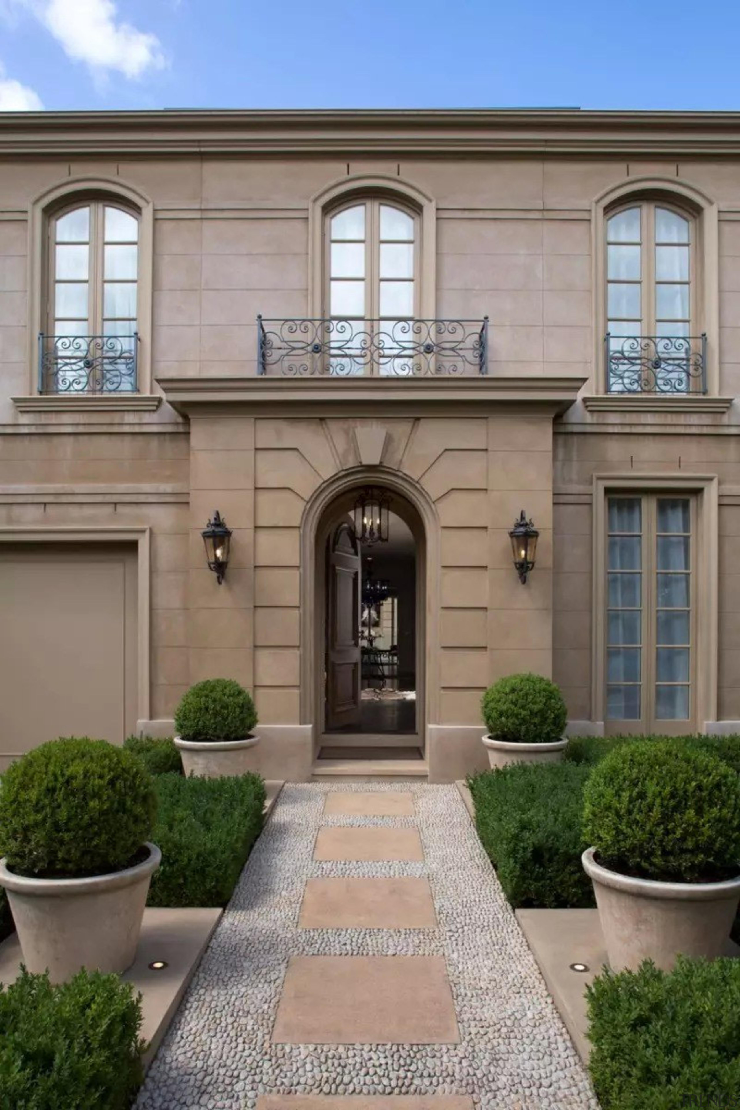 French classic-style residence by Massimo Interiors architecture, building, courtyard, door, estate, facade, historic house, home, house, landscaping, mansion, property, real estate, residential area, walkway, window, gray