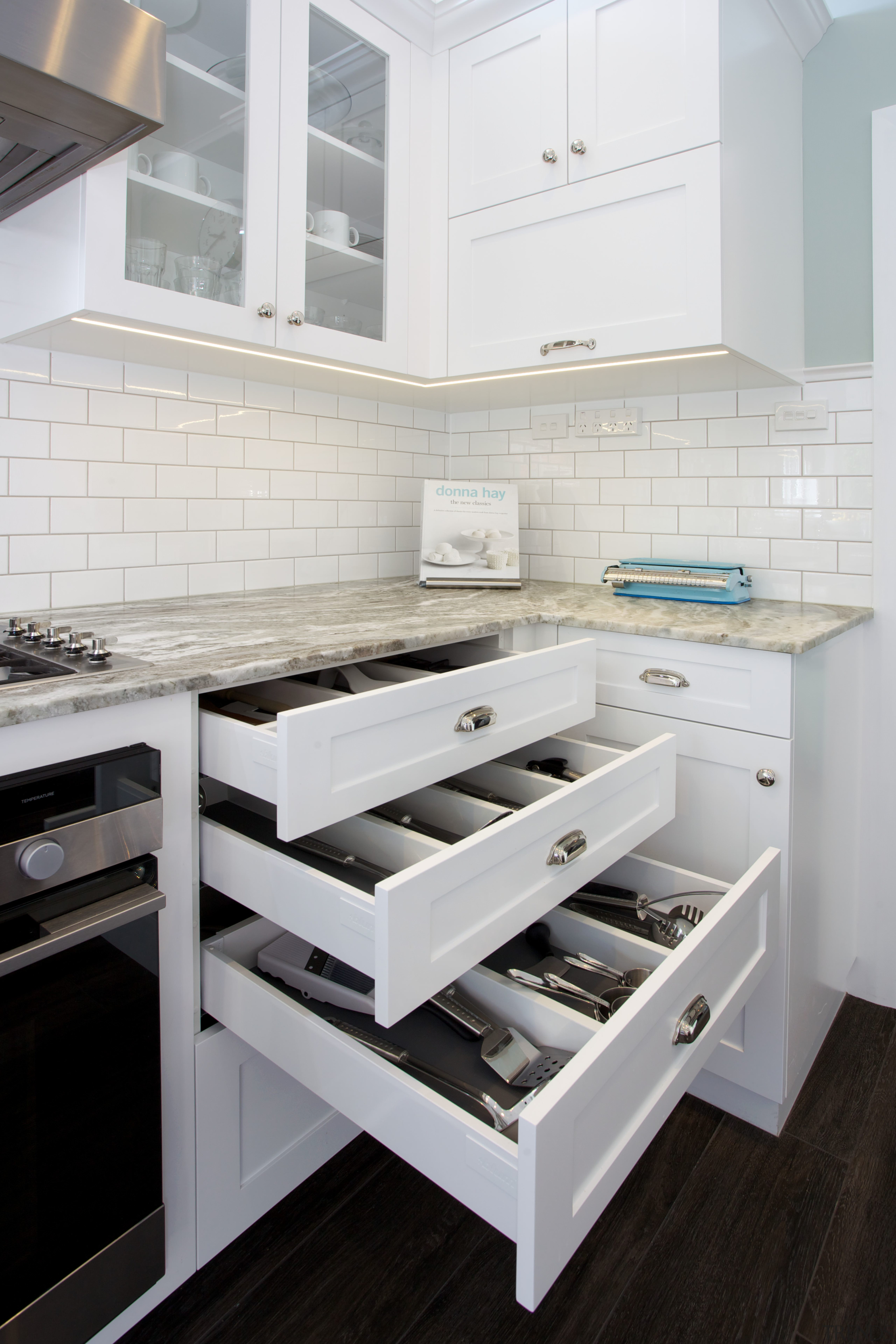 Storage in this kitchen is optimised with new countertop, floor, furniture, interior design, kitchen, product design, room, white, gray