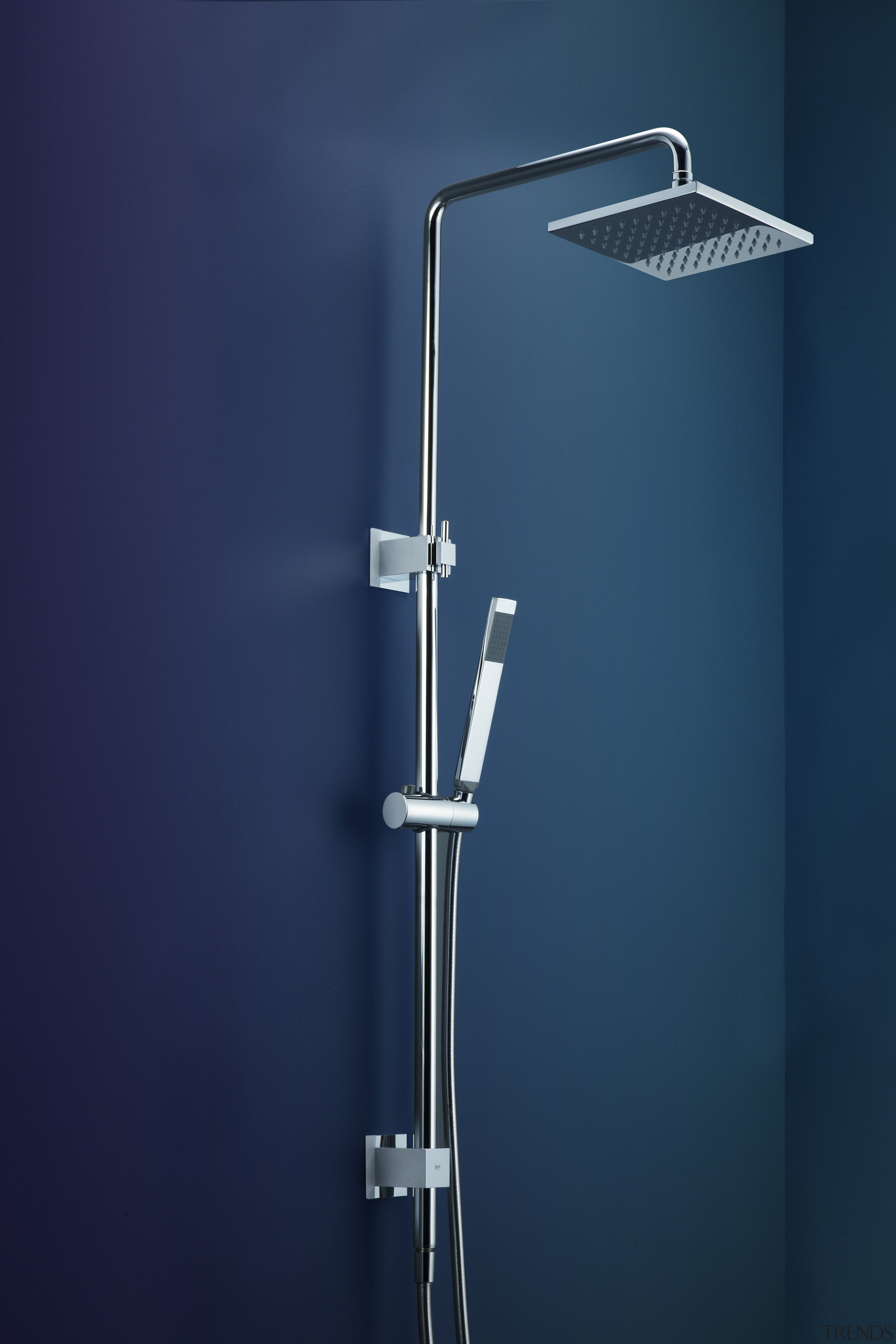 Dorf Rail Shower with Jovian Overhead  eco-friendly line, plumbing fixture, product design, shower, blue