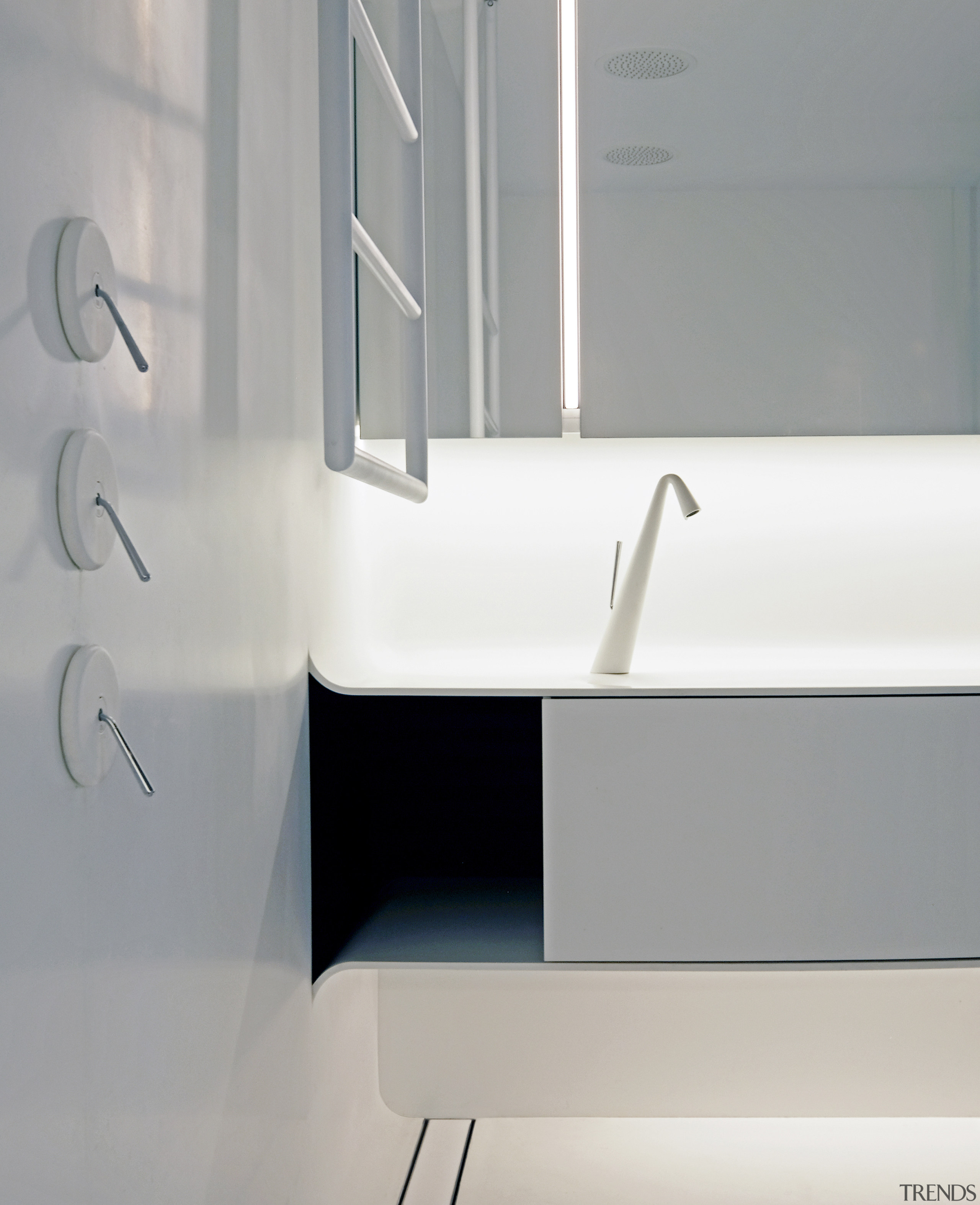 This bathroom's space age palette of white finishes architecture, bathroom, design, floor, flooring, furniture, interior design, line, material property, product, room, shelf, sink, tap, tile, wall, white, gray, white