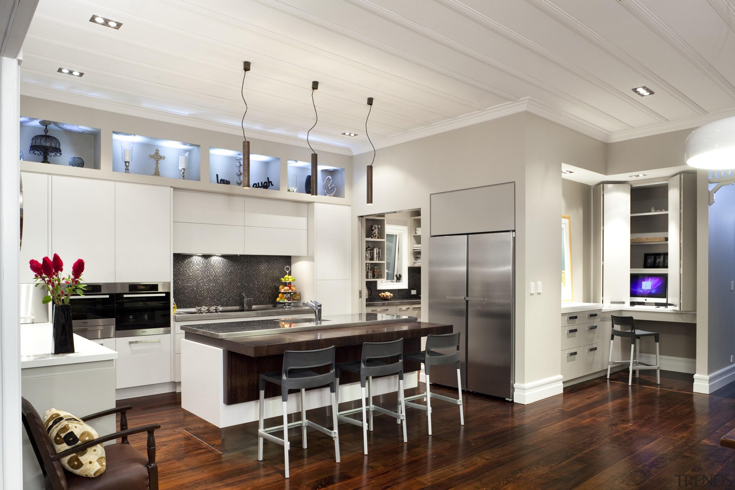 dark wooden floors from kitchen to mini study countertop, floor, interior design, kitchen, living room, real estate, room, wood flooring, gray